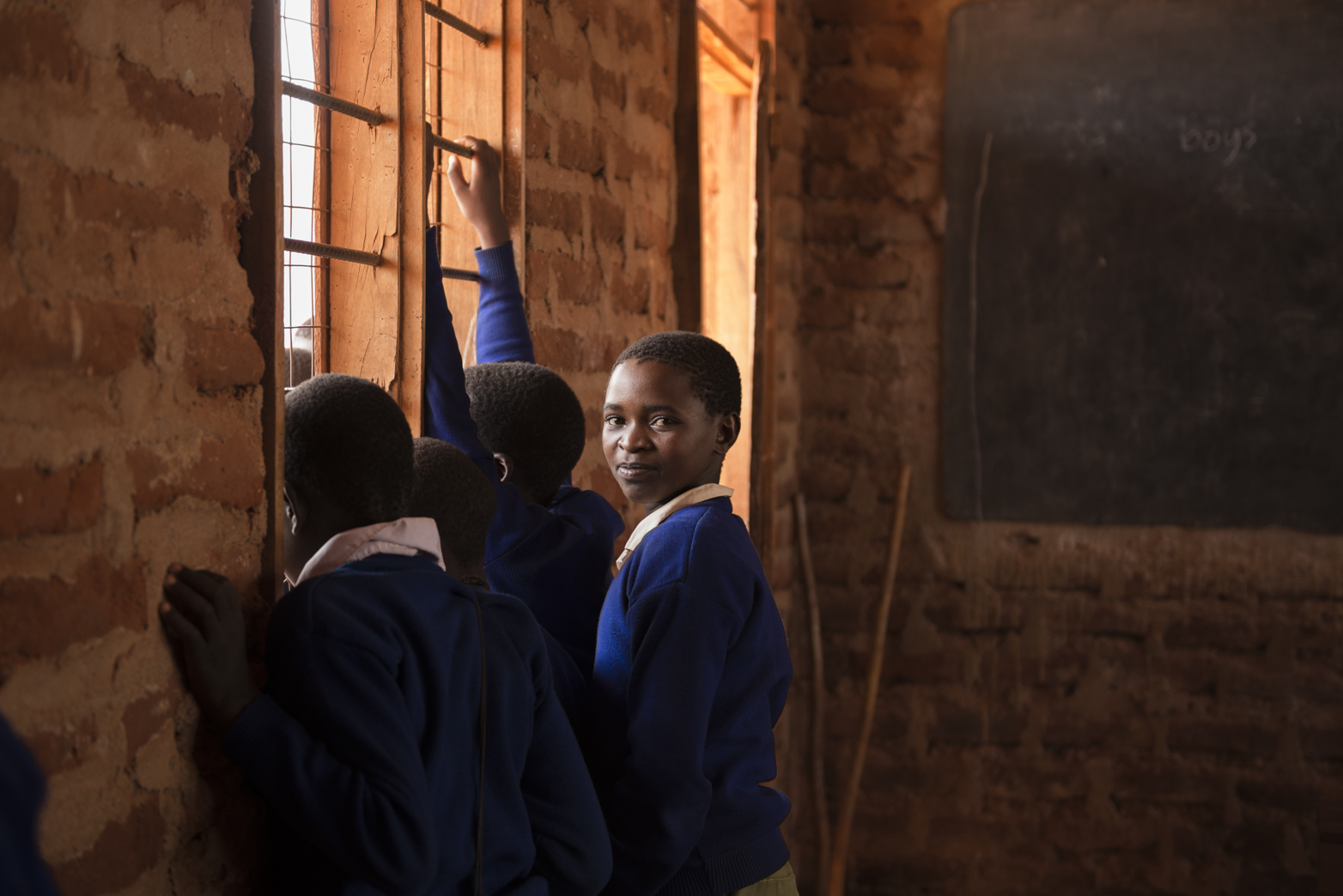 Pupils waiting for a WASH class