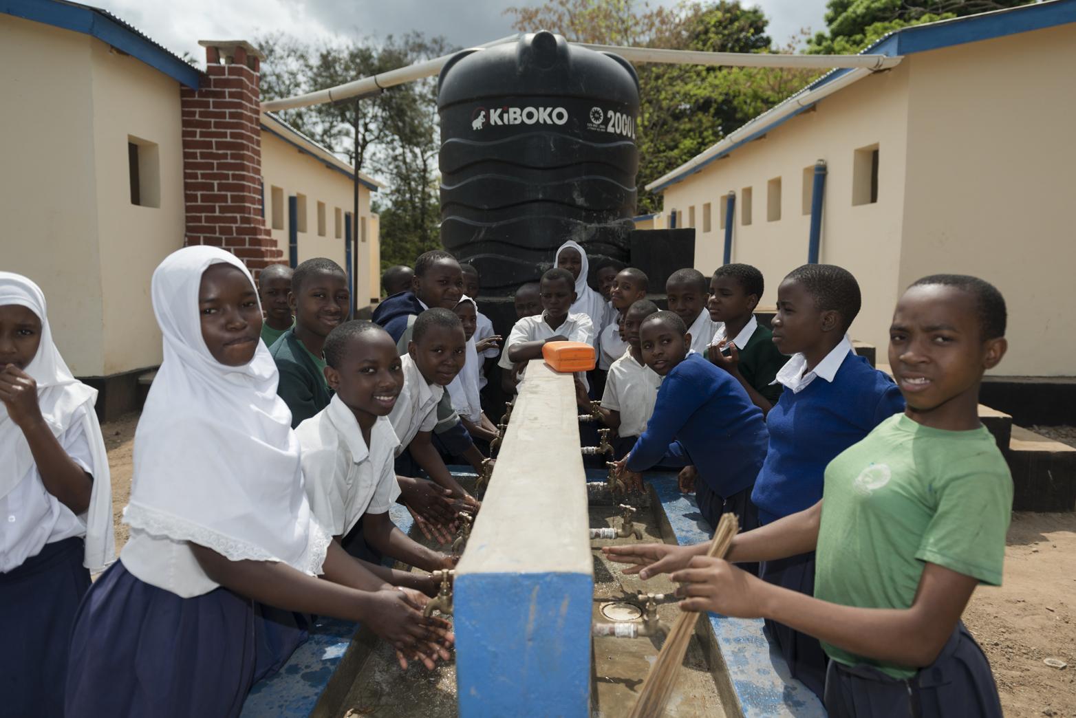 Finished toilet blocks in Mwaya