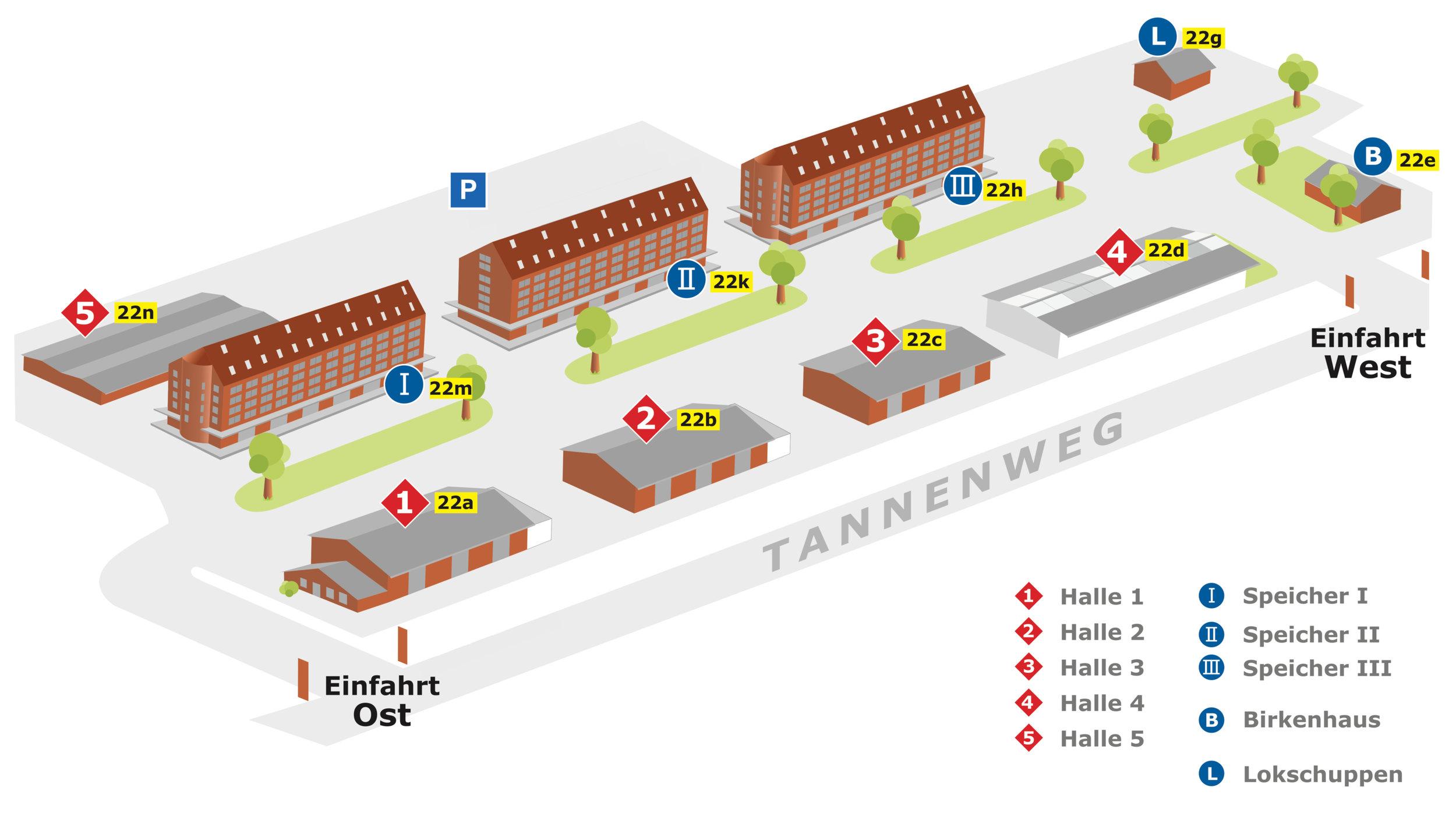 Das Gelände: drei SpeicherGebäude, Fünf Hallengebäude und zwei nebengebäude