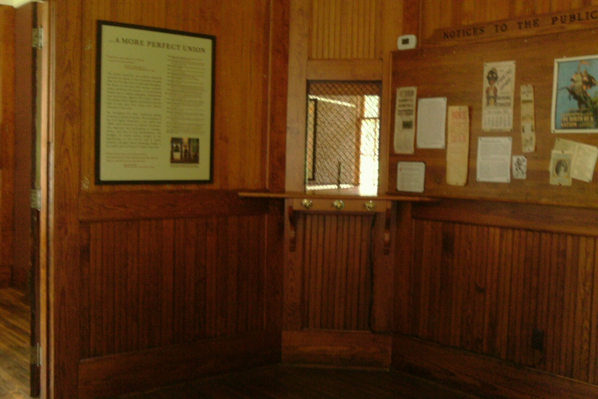 Ticket window for whites, Montpelier Station train depot.
