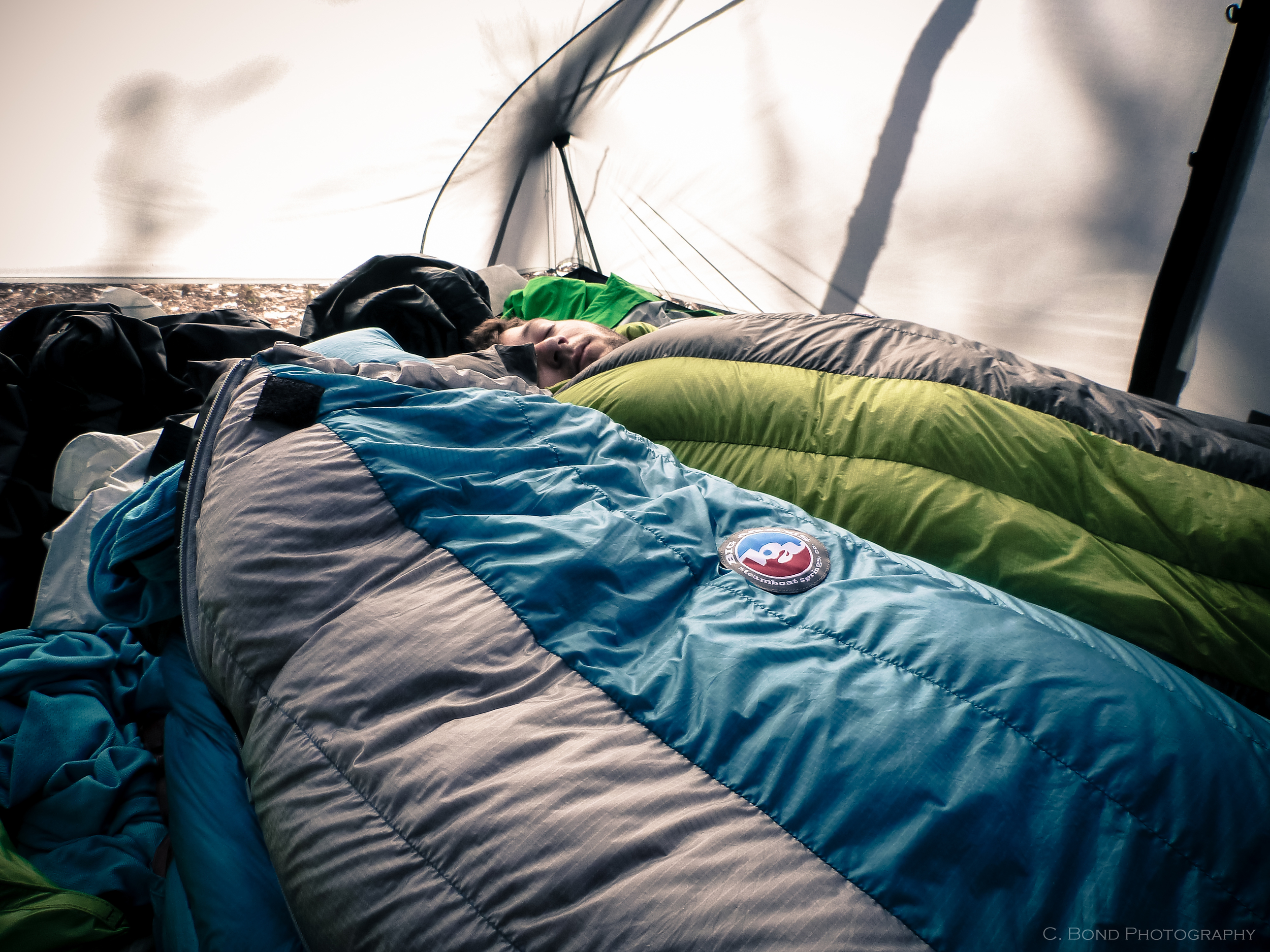We all had Big Agnes Sleeping Bags and Pads.  The bags were awesome, the pads... not so great.