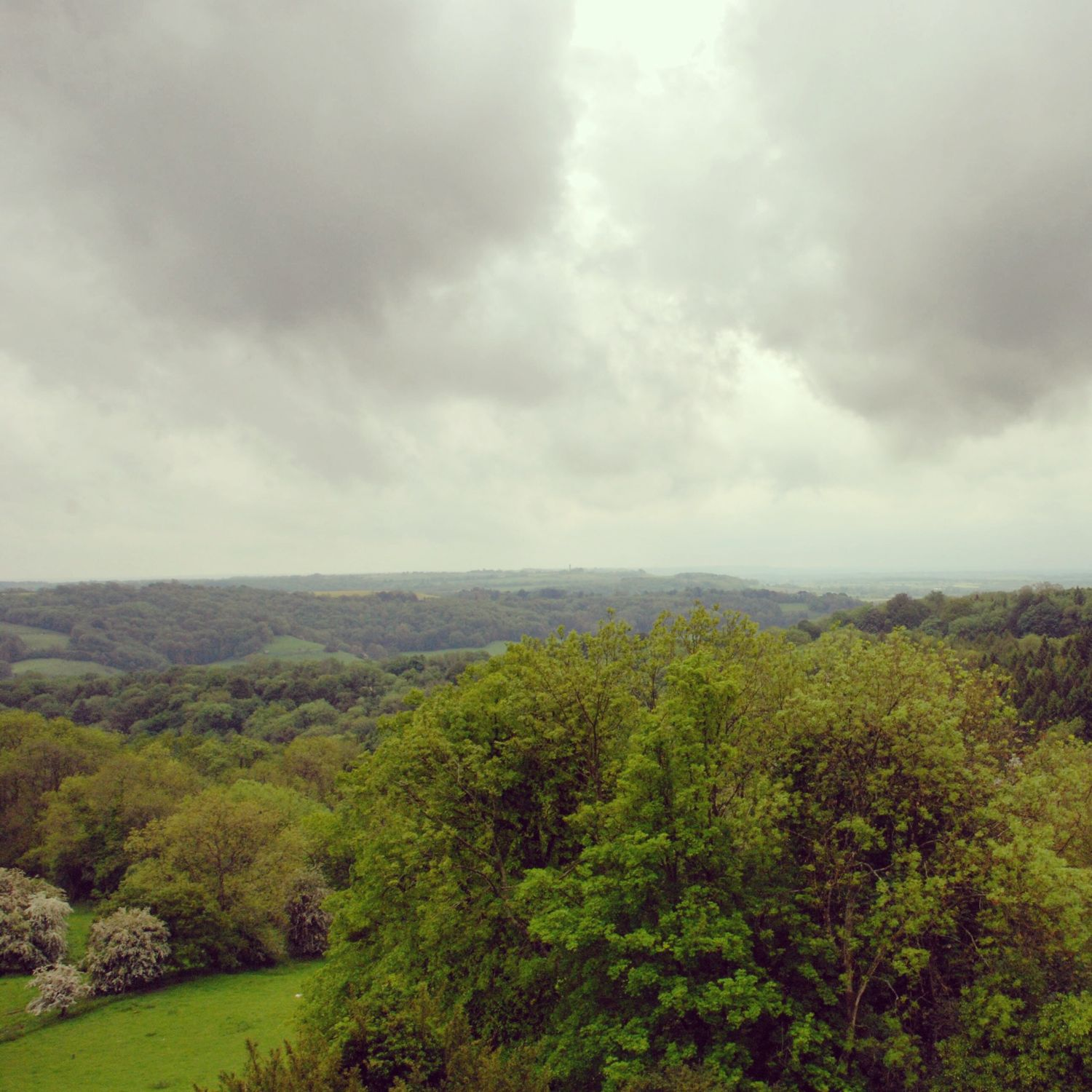 The amazing view across the rain-soaked Ozleworth Valley from Newark Park