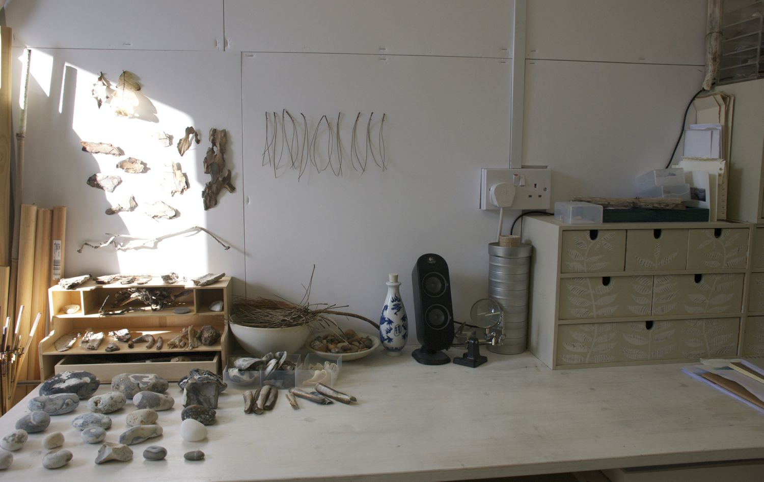 One corner of my studio in the late afternoon sunlight
