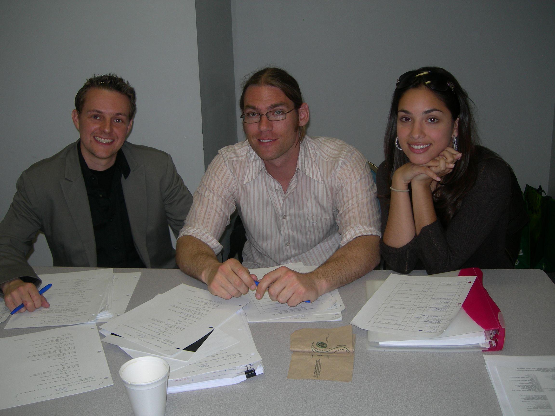 Producer Alex Jordan, Director Ken Simpson & Co-producer Lara Amersey during the casting process