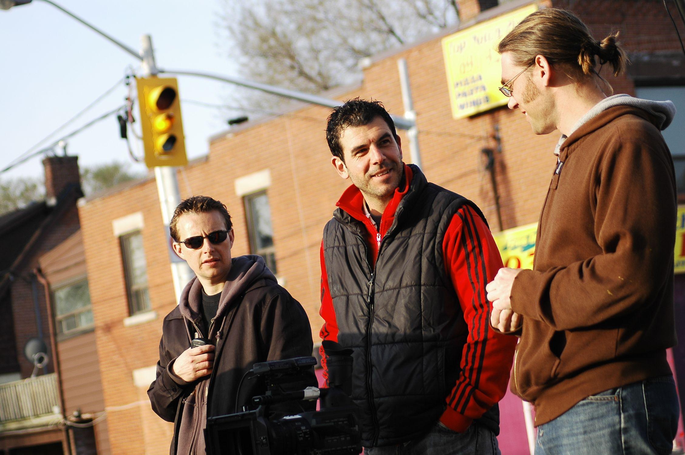 Alex Jordan, Alex Dacev & Ken Simpson setting up a shot