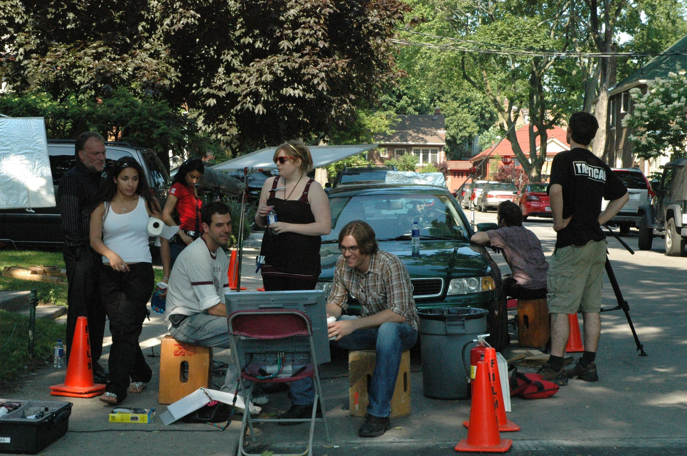 The crew set up for an interior car scene