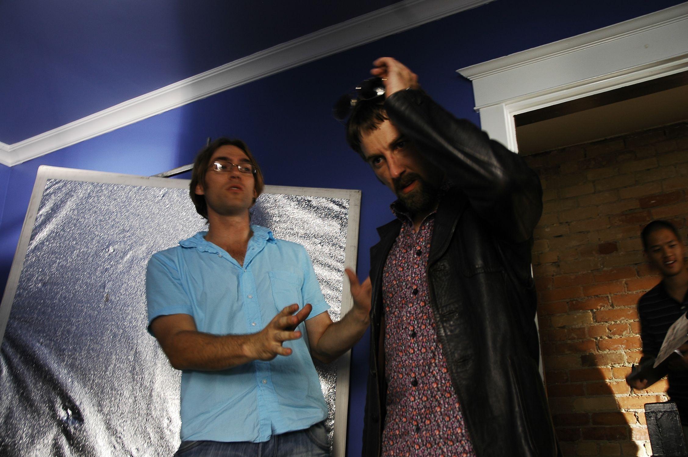 Director Ken Simpson working with Actor Leon Bearman