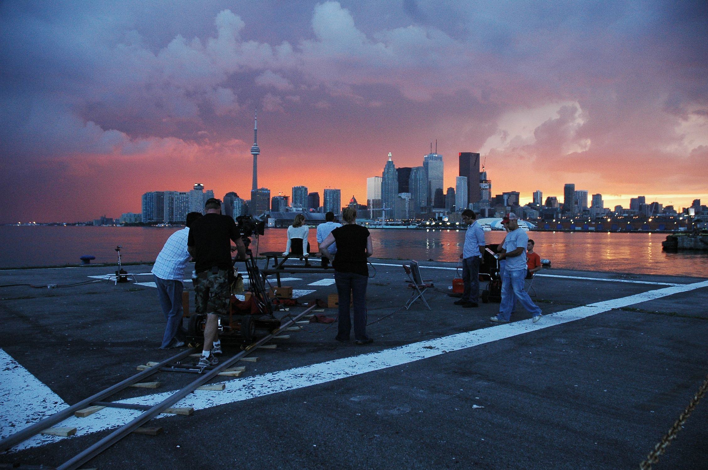 The Crew set up for a 45 minute time lapse shot over looking Toronto