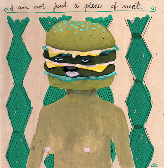"""Piece of Meat,"" Gouache on wood, personal work, 2014.  We have all felt this way before."