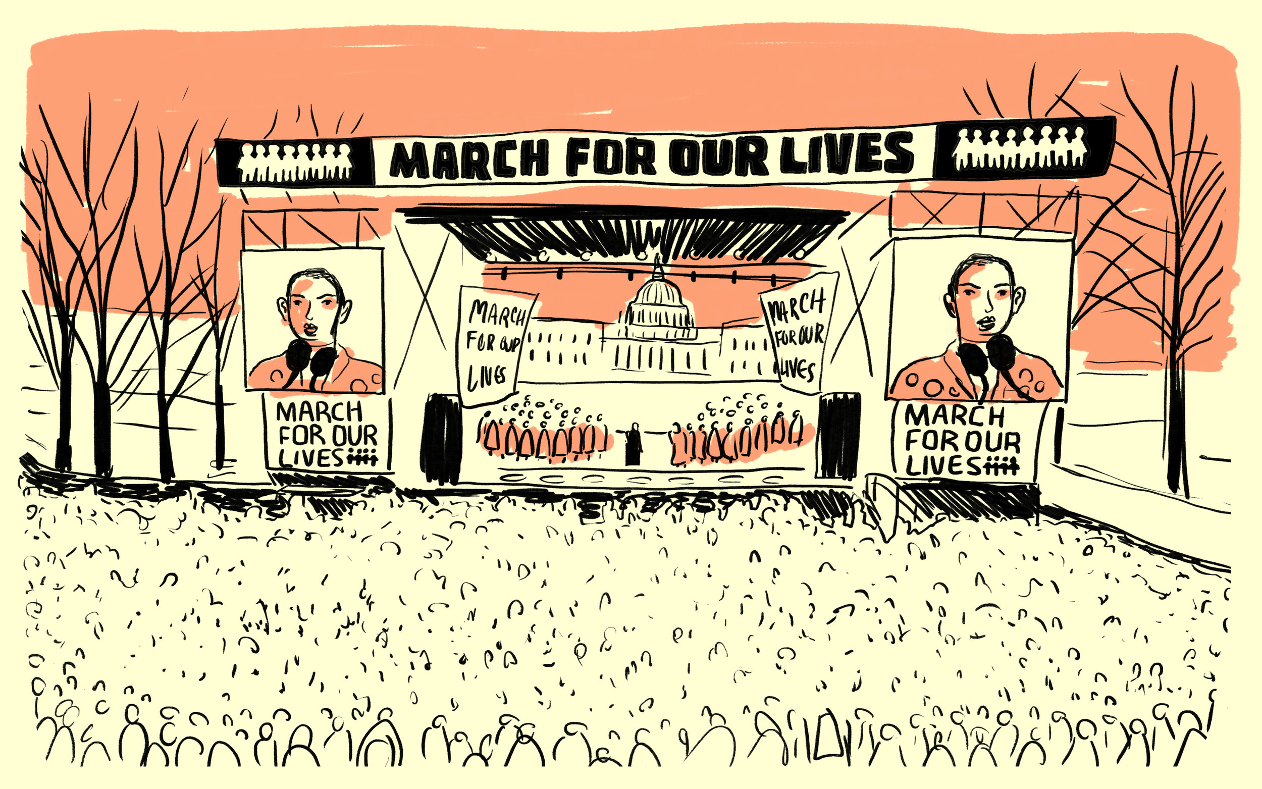 Read the comic here:   Illustrated Scenes from the 'March For Our Lives'  for NPR.org, 2018, Washington, D.C.