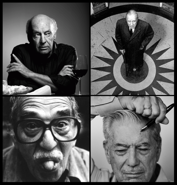Galeano (top left), Borges (top right), Marquez (bottom left), Llosa (bottom right)