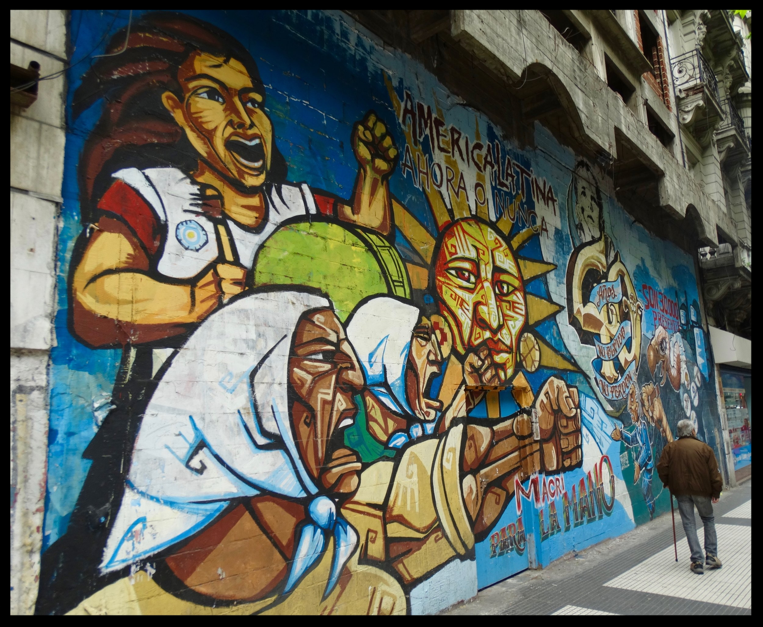A mural at the center of Buenos Aires depicting a proletariat uprising against...