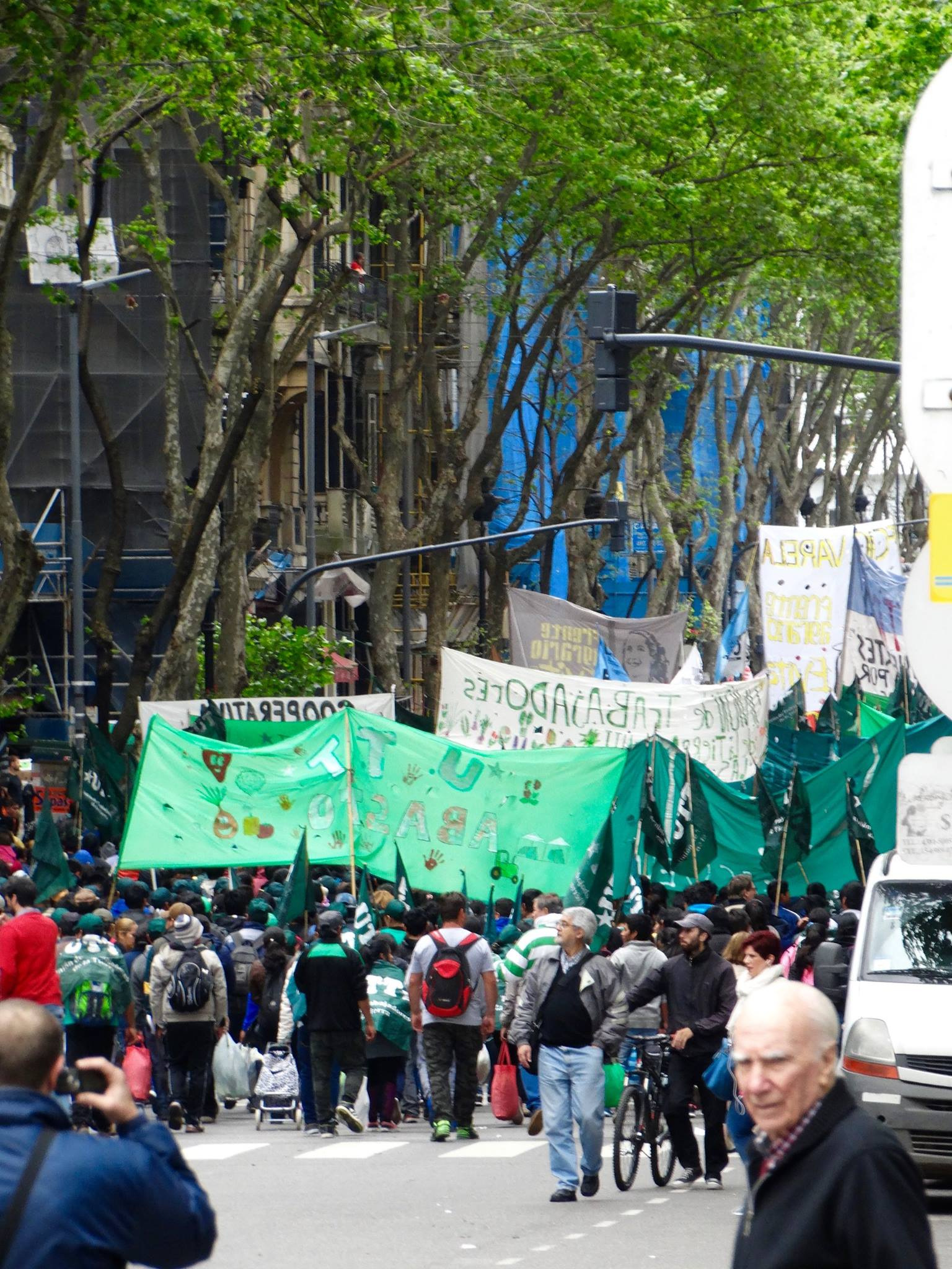 Demonstrations are a regular part of life in the city. This one was put on by the UTT (Workers of the Soil union), and from what I can translate by the signs, the protest seems to be about drug rehabilitation access.