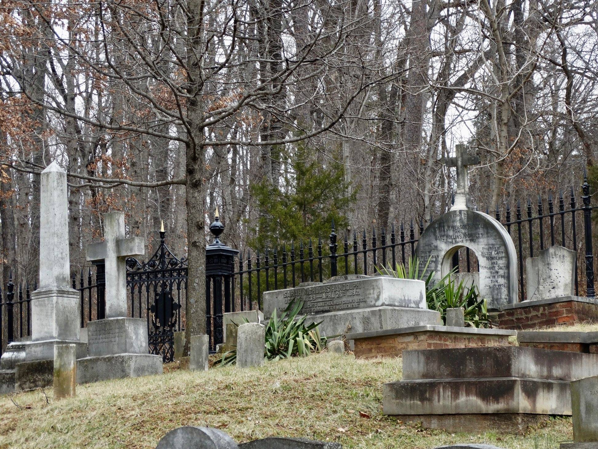Monticello's graveyard, where Thomas Jefferson and his direct descendants lie in rest.