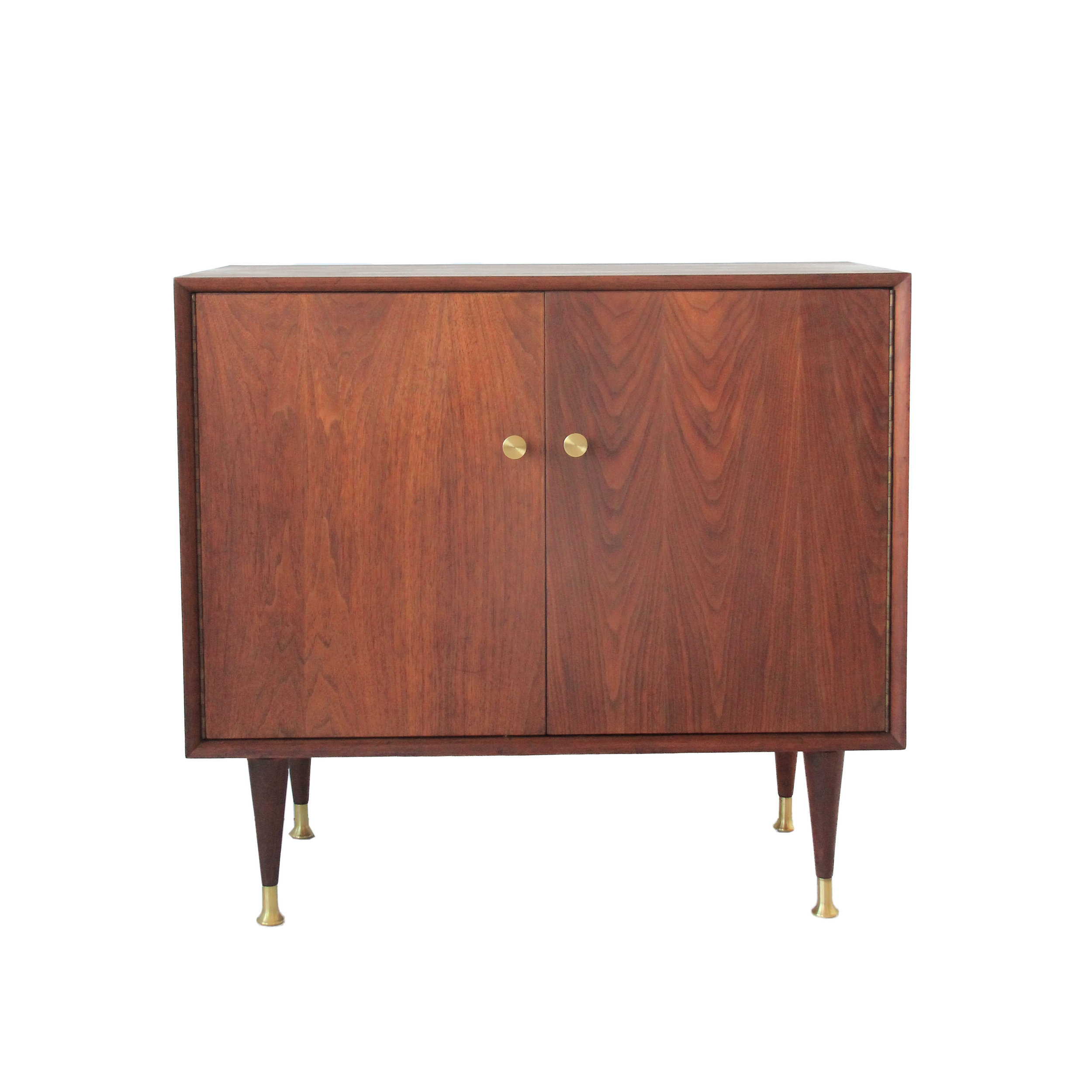 Vintage Mid Century Modern Walnut Cabinet with Brass Hardware
