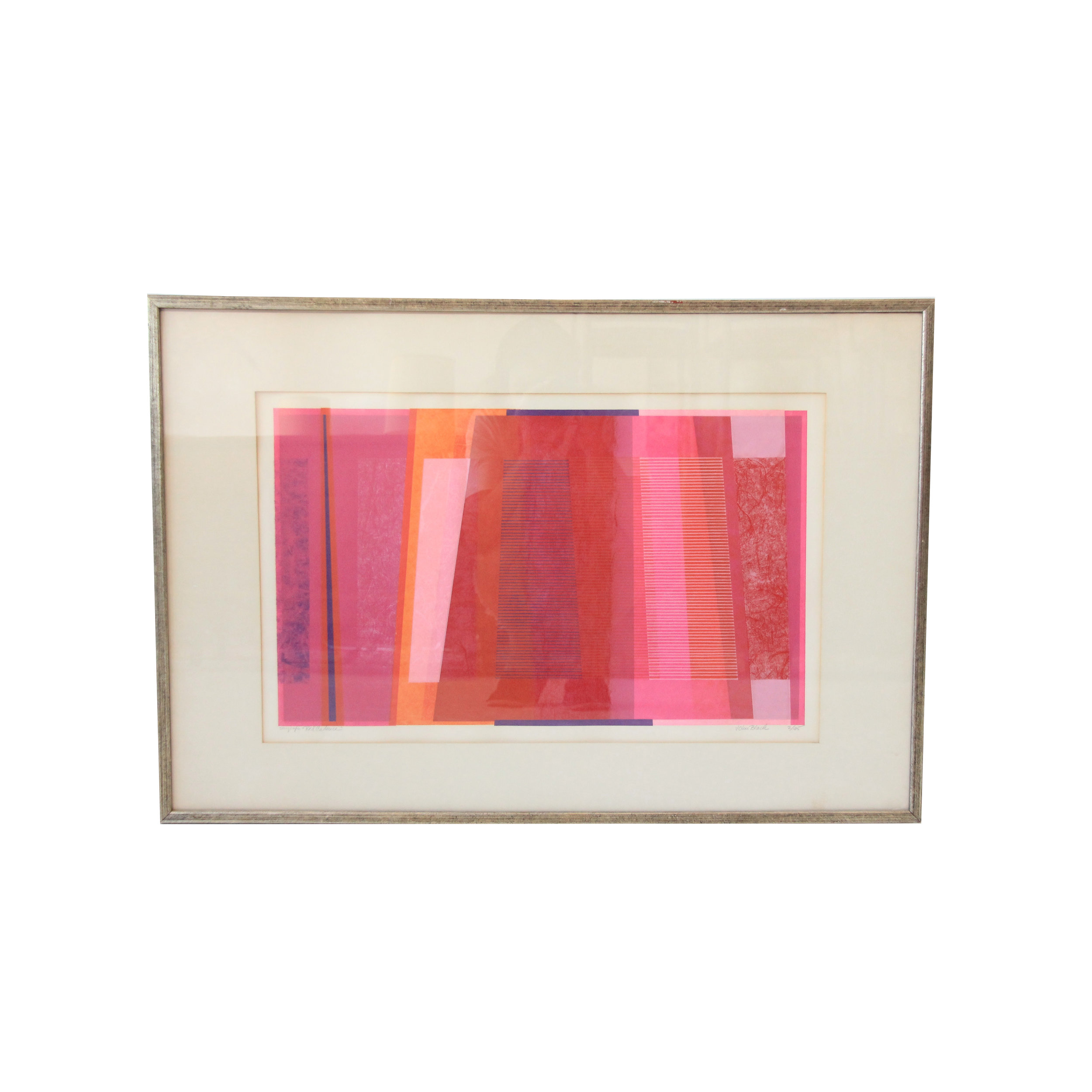 Vintage Mid Century Modern Pink Abstract Lithograph