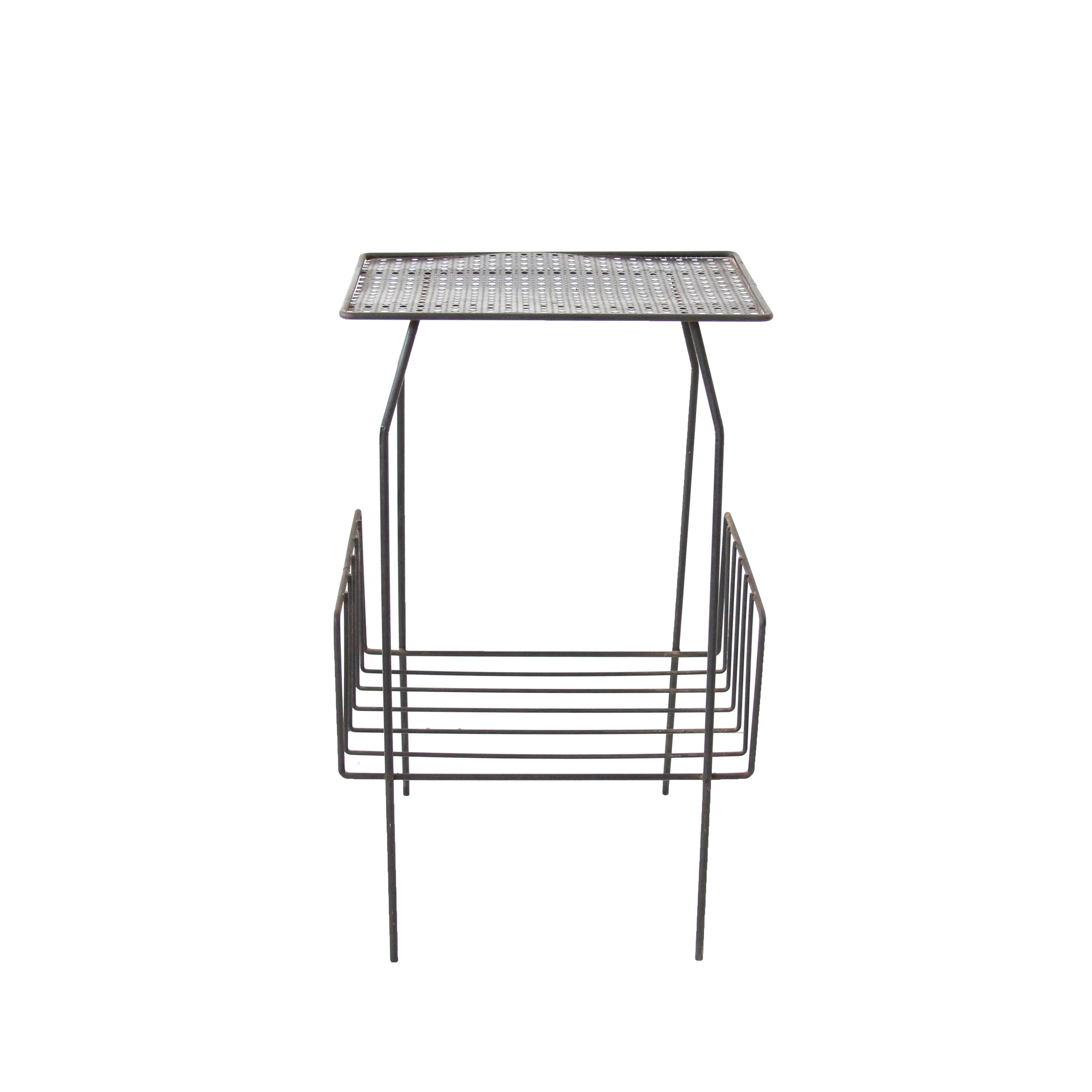 Vintage Mid Century Modern Black Wire Side Table