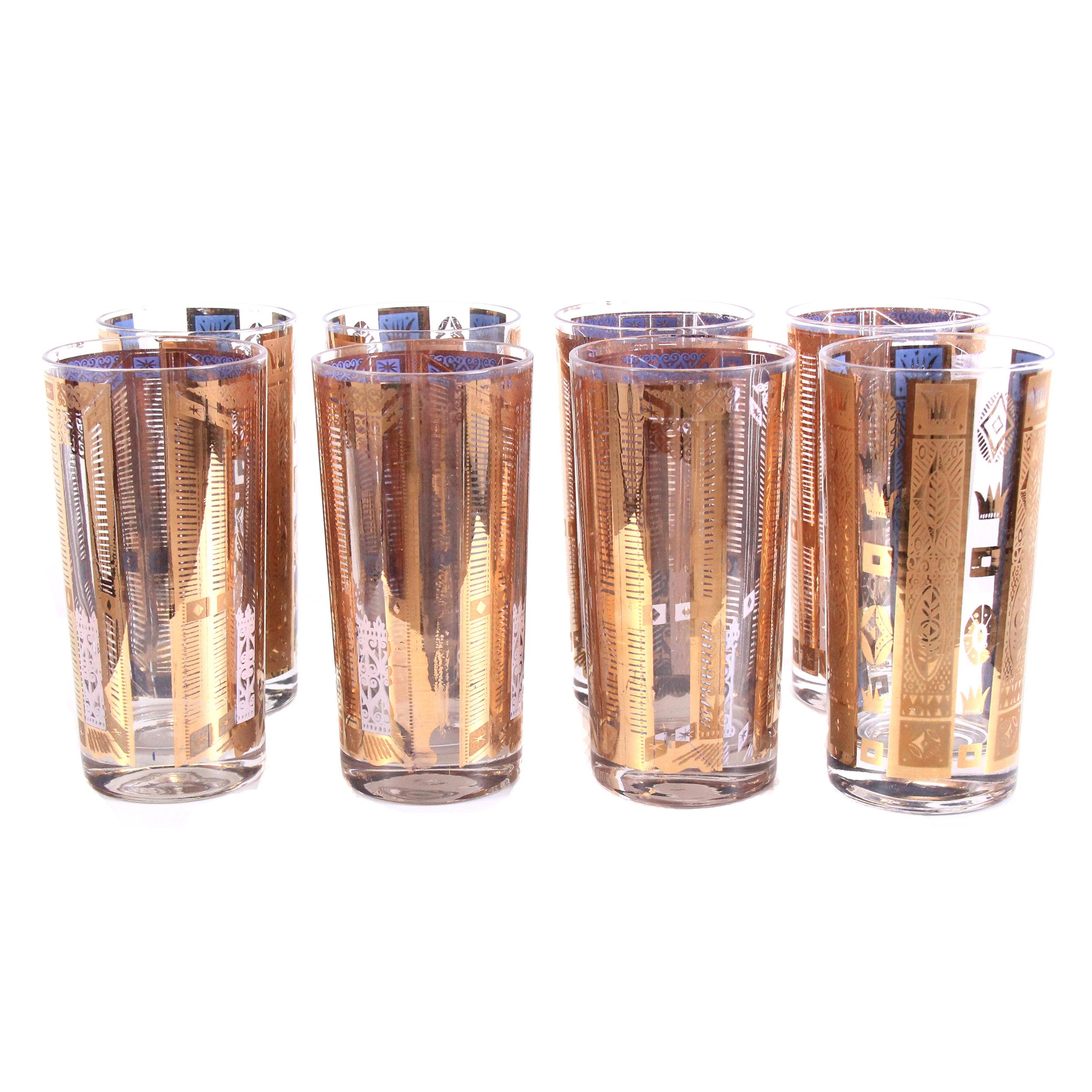 Vintage Mid Century Modern Glasses Barware - Set of 8