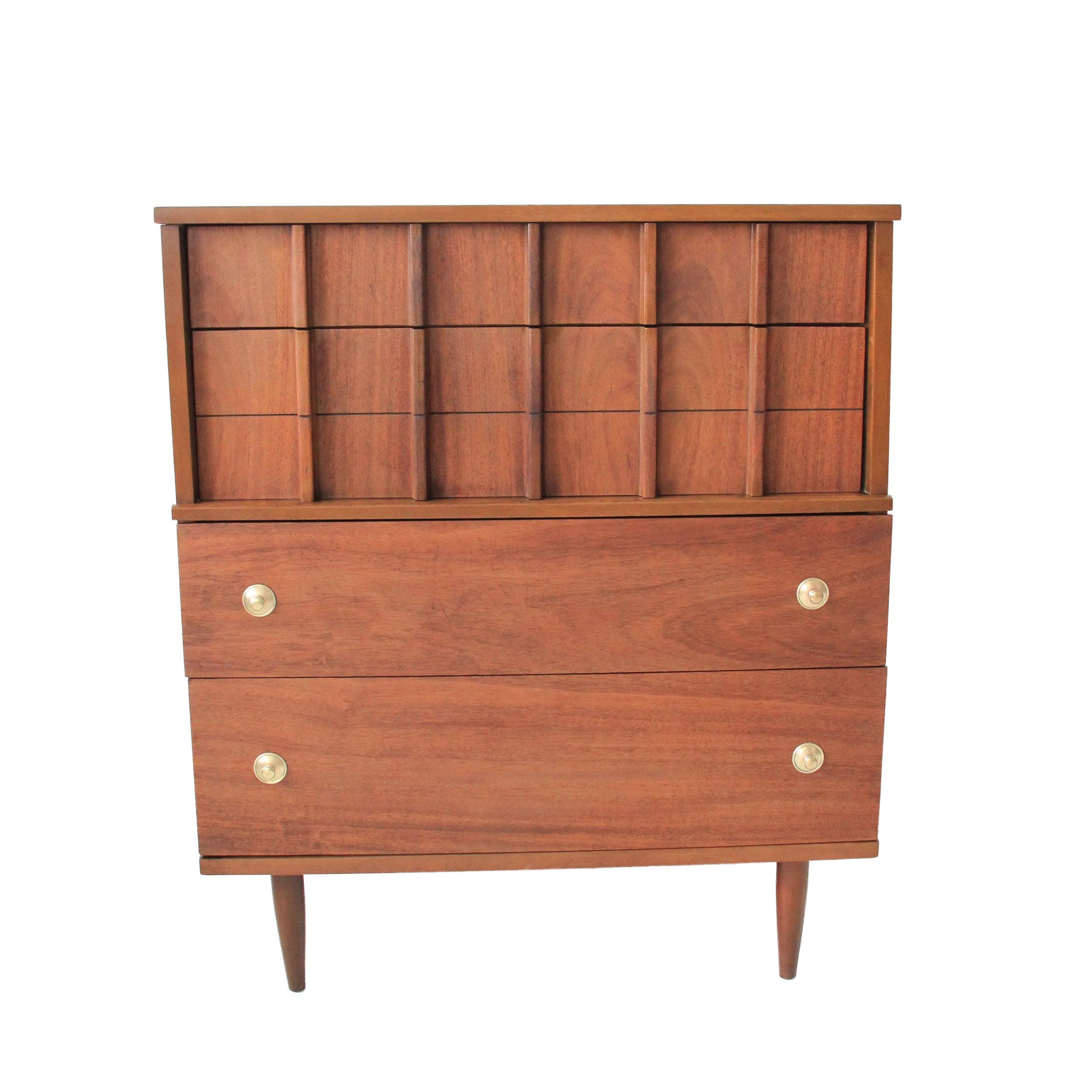 Vintage Mid Century Modern Highboy Dresser with Brass Hardware