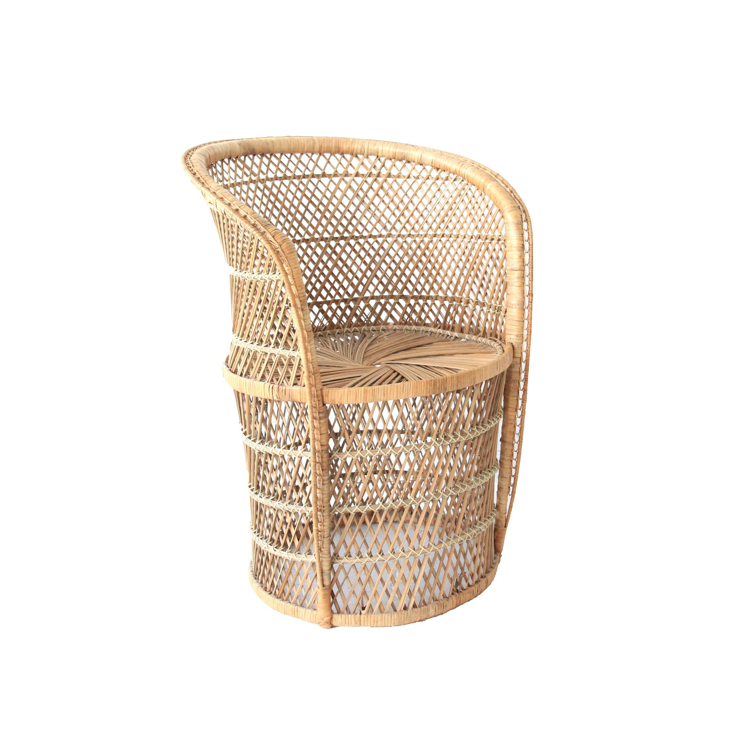 Vintage Bohemian Buri Fan Chair