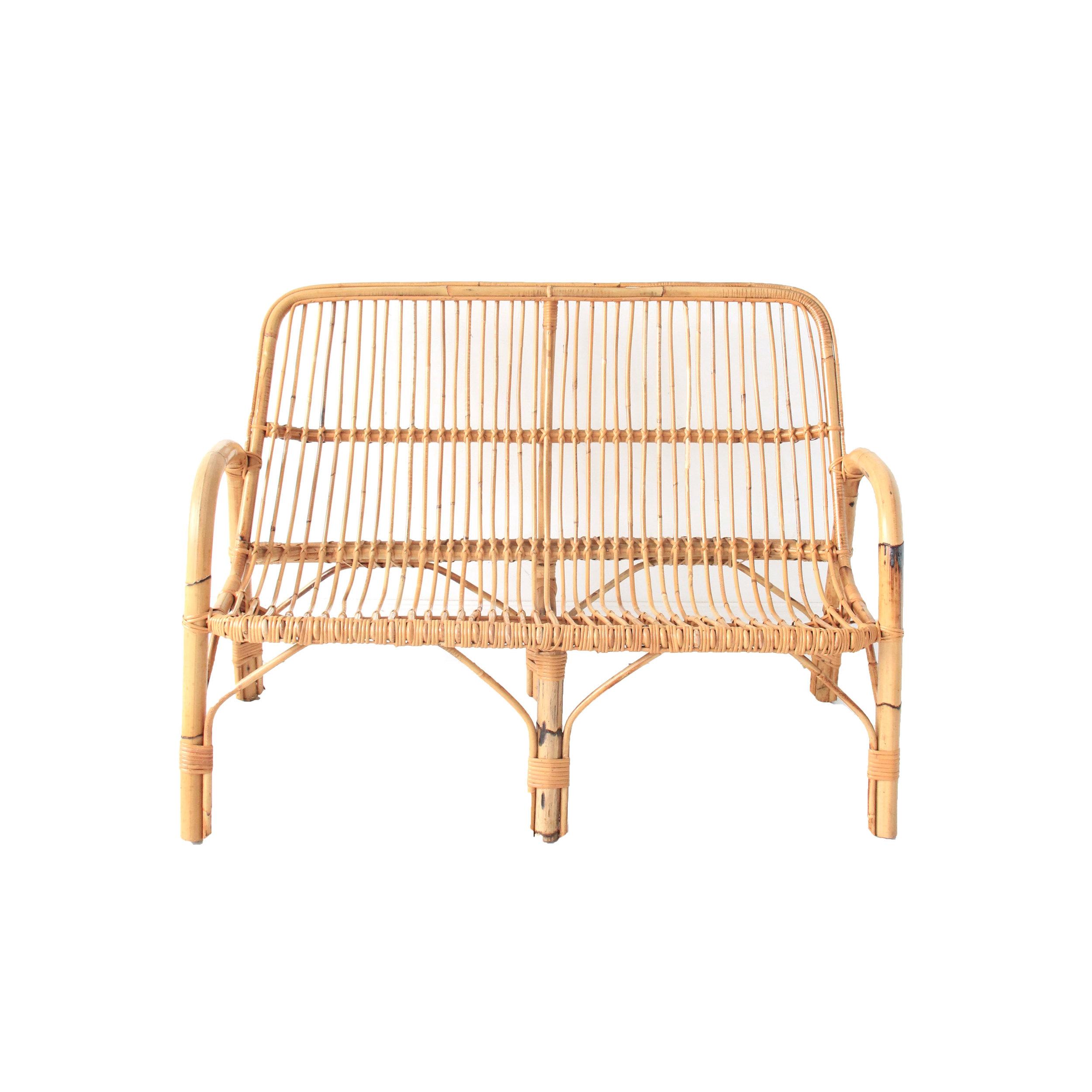 Vintage Rattan and Bamboo Sofa