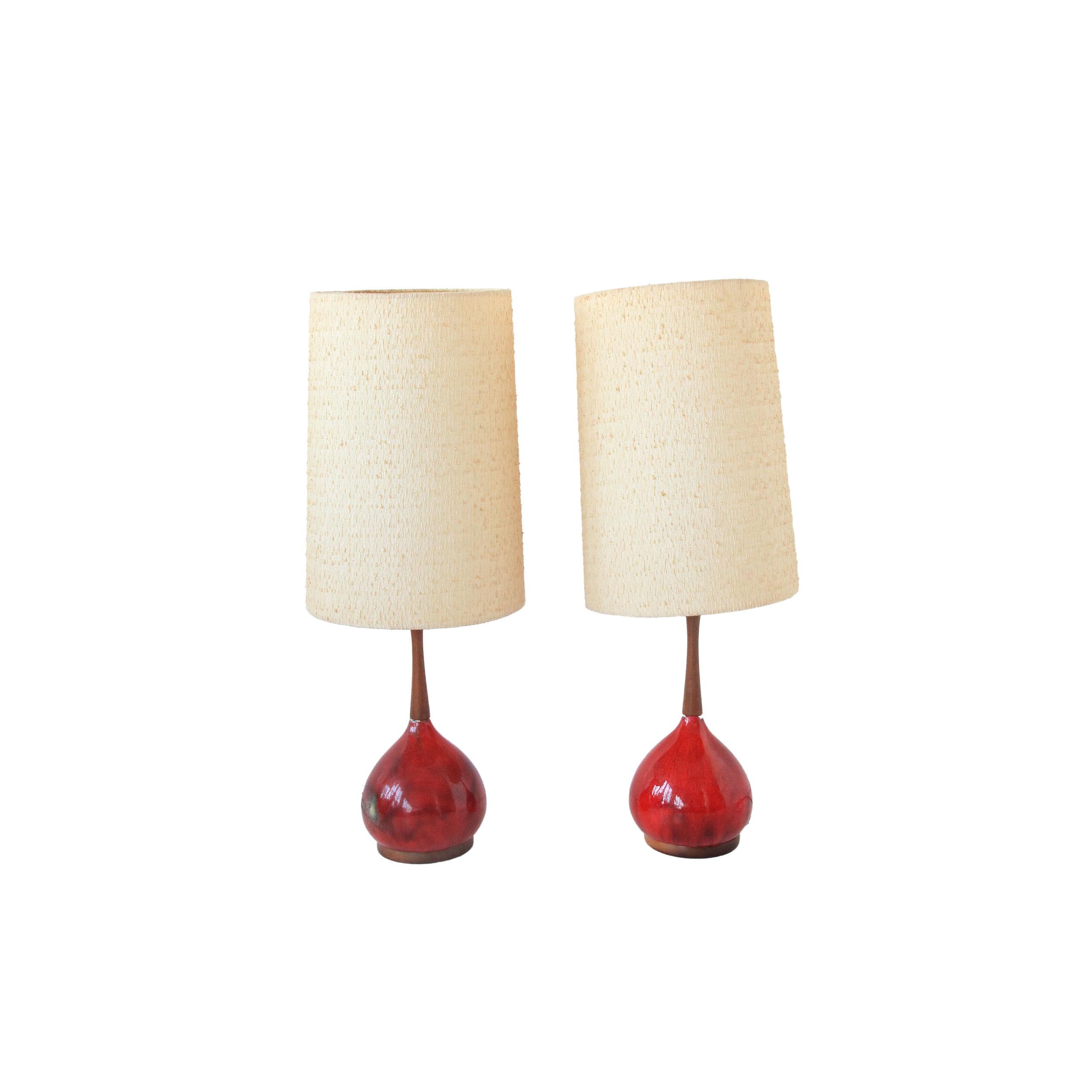 Vintage Mid Century Modern Orange Glazed Lamps