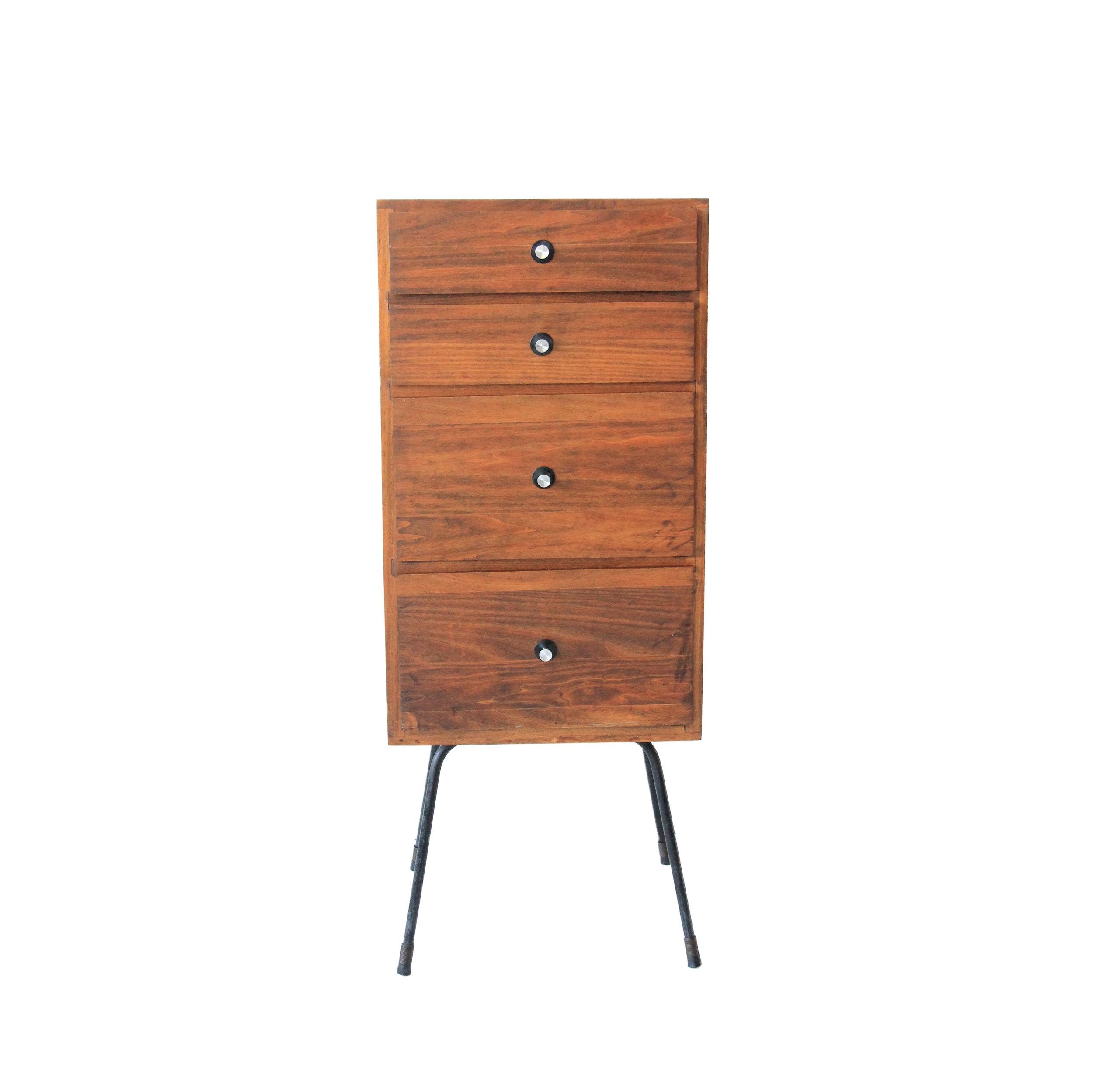 Vintage Mid Century Modern Tall Storage Dresser