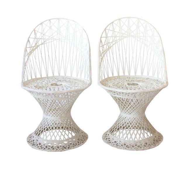 Vintage Mid Century Modern White Fiberglass Chairs
