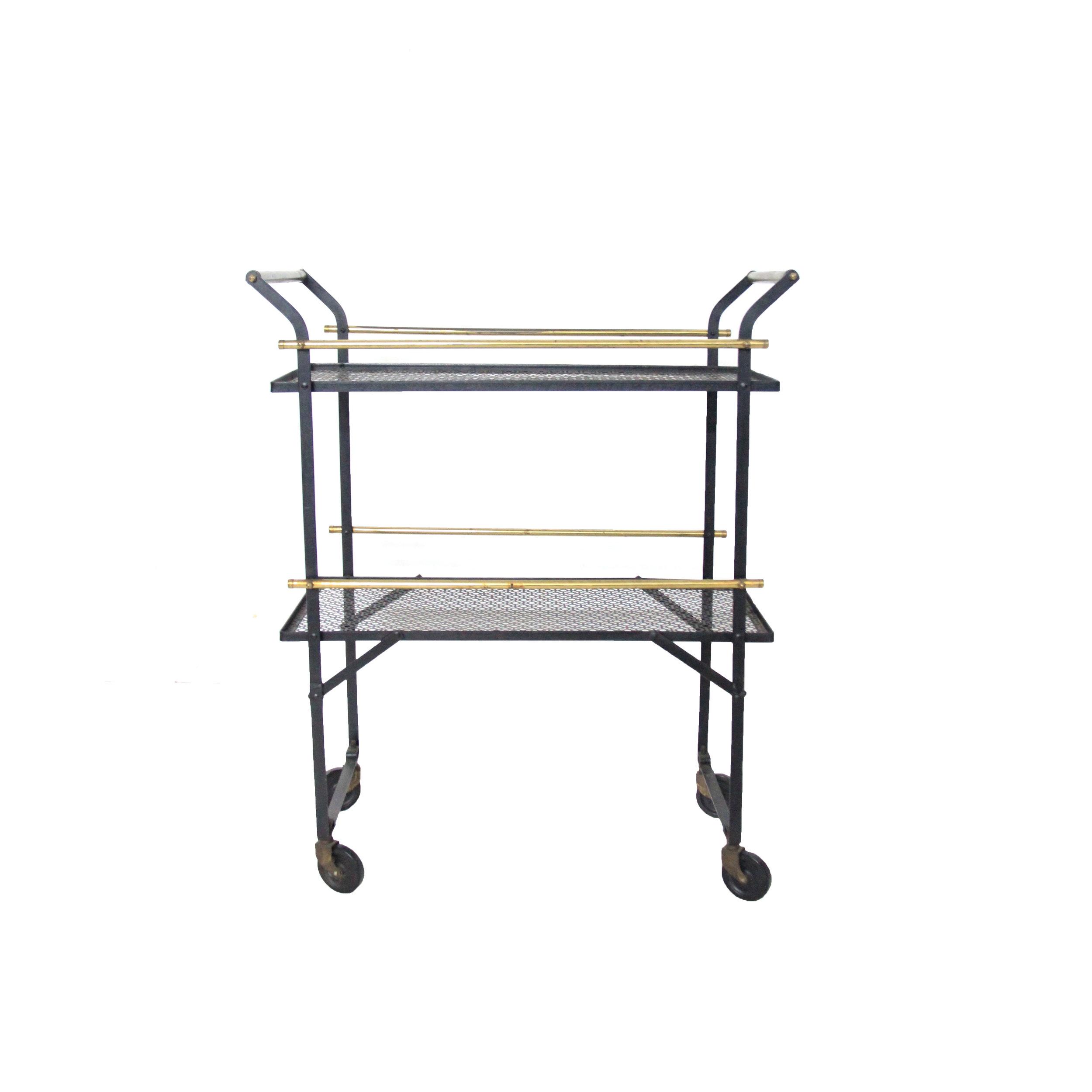 Vintage black mesh bar cart.jpg
