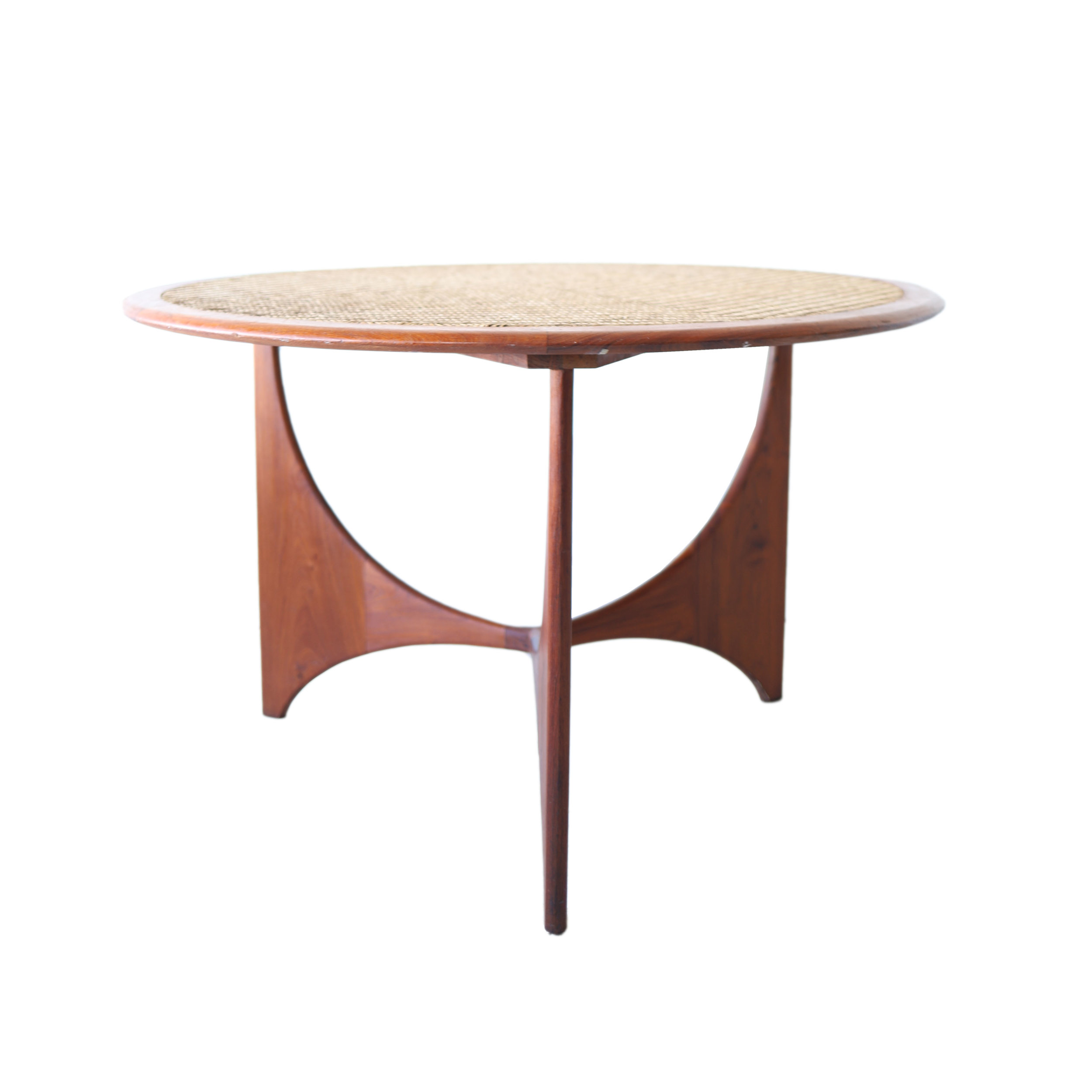 At 1st Sight Products 5 Vintage Mid Century Modern Round Rattan And Walnut Dining Table