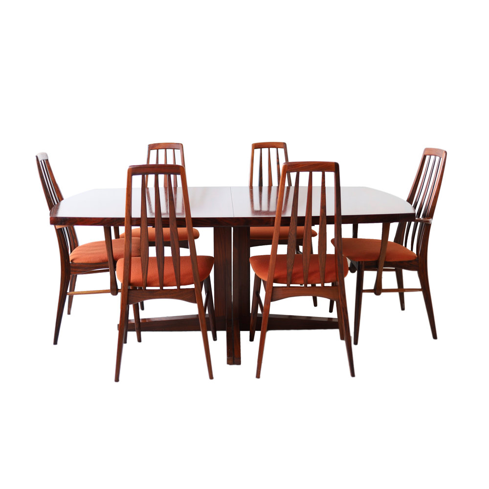 New Products Vintage Mid Century Modern Rosewood Dining Room Table And Chairs By Dyrlund At 1st Sight