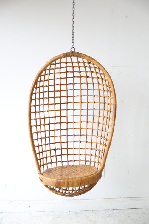Vintage Rattan And Bamboo Hanging Chair
