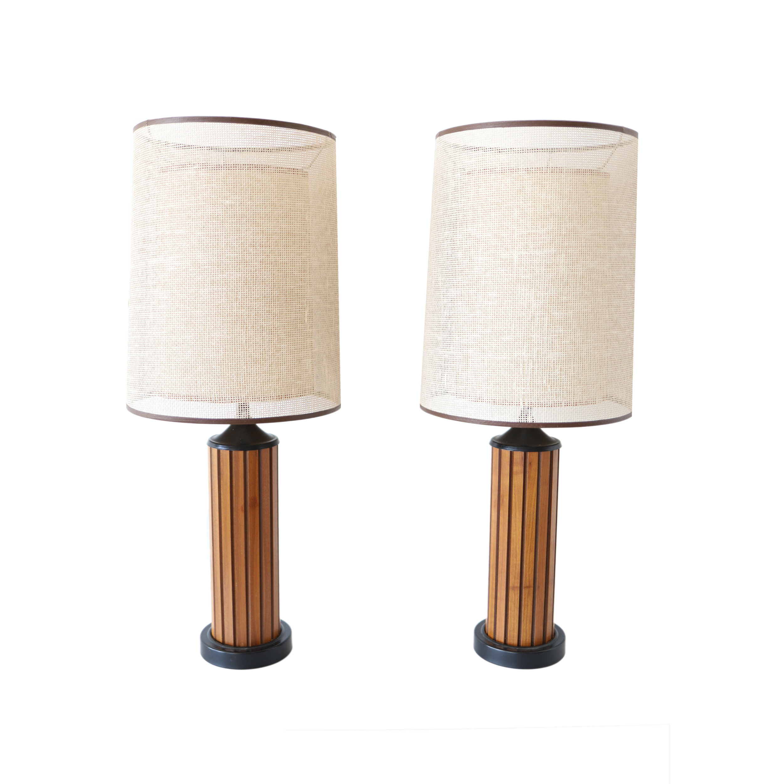 At 1st Sight New Products Pair Of Tall Vintage Mid Century Modern Slat Table Lamps