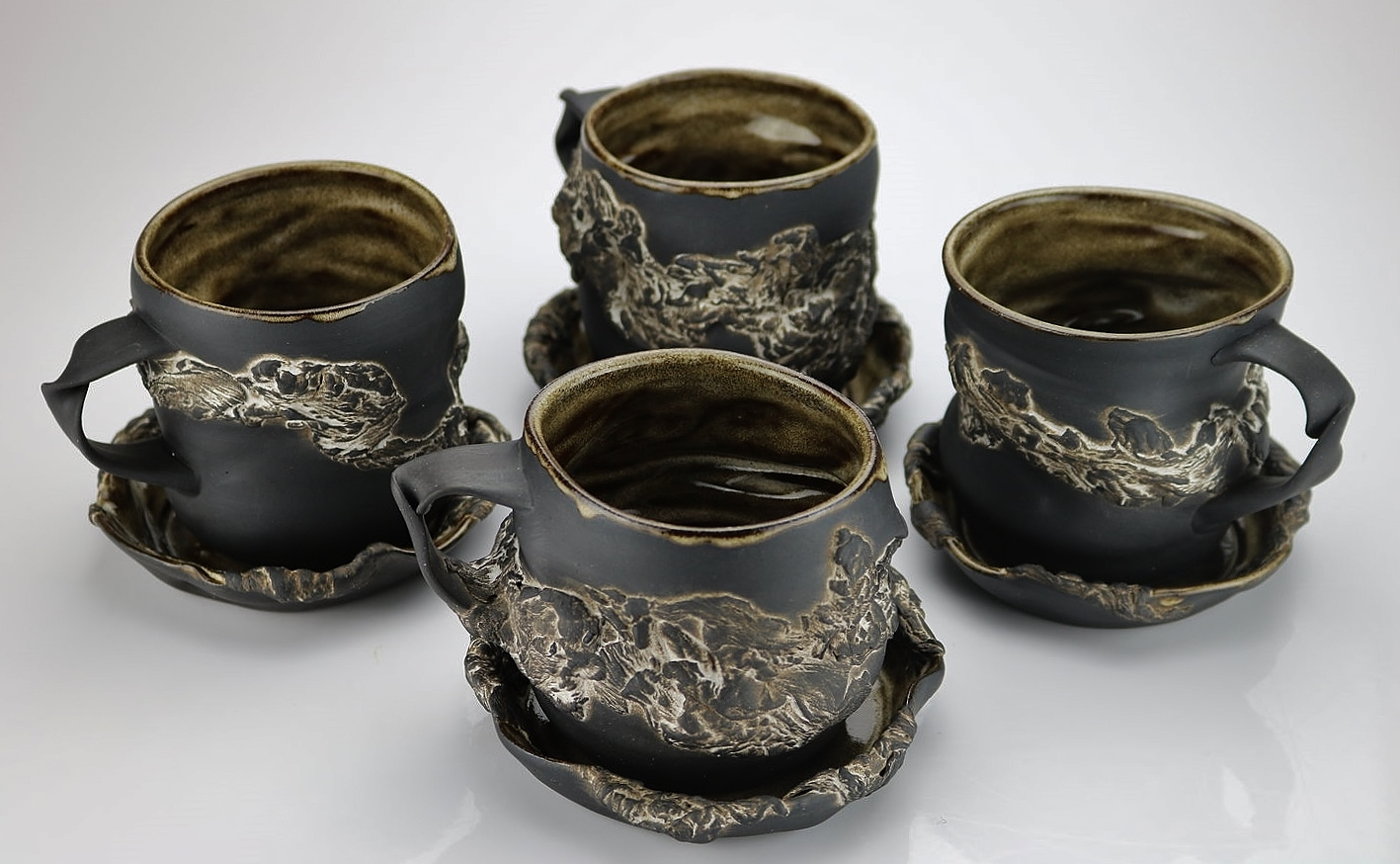 Undulating Partial Bark Mugs