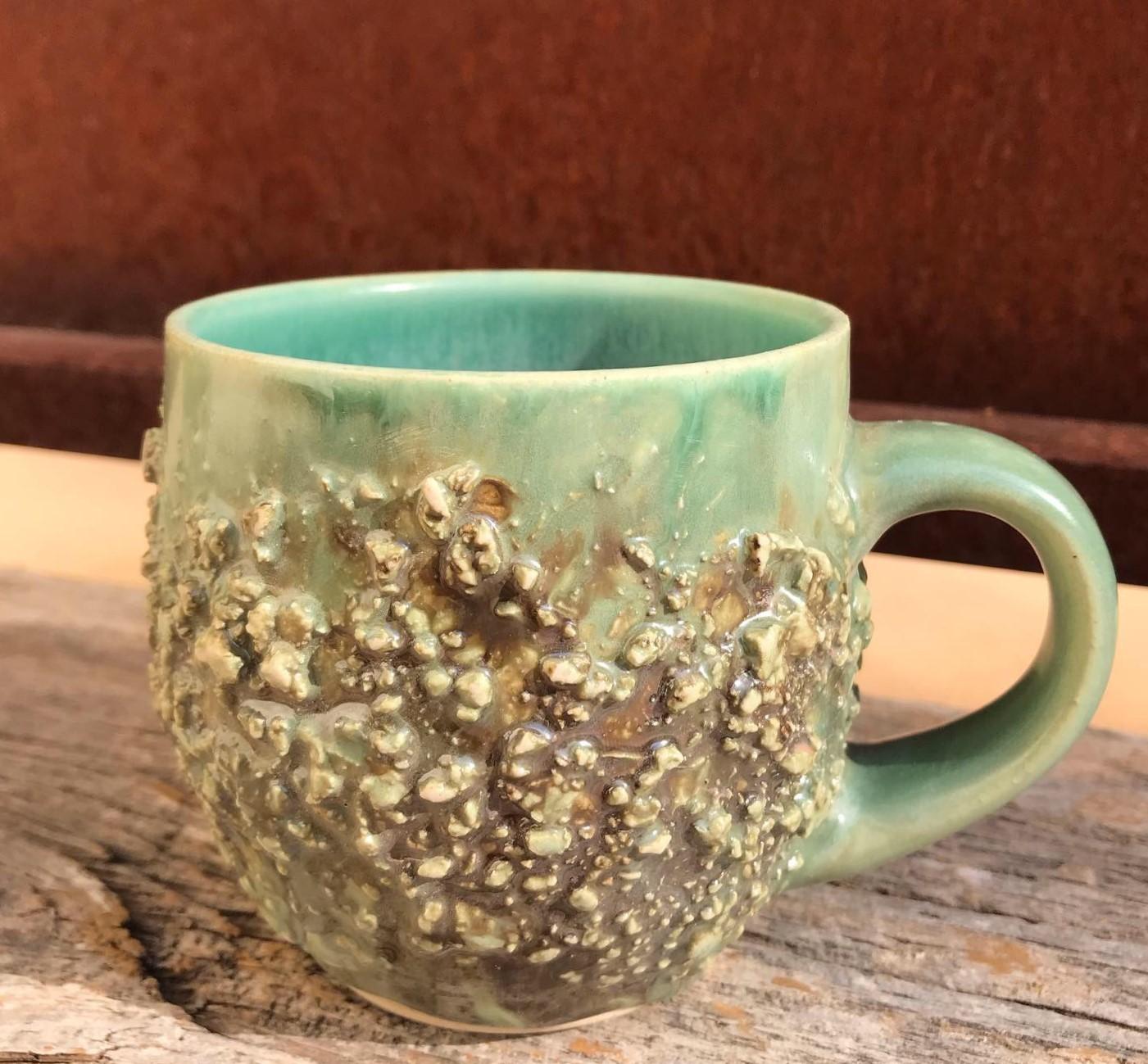 Craggy Texture Stoneware Mug - Emeraude/Cerulean