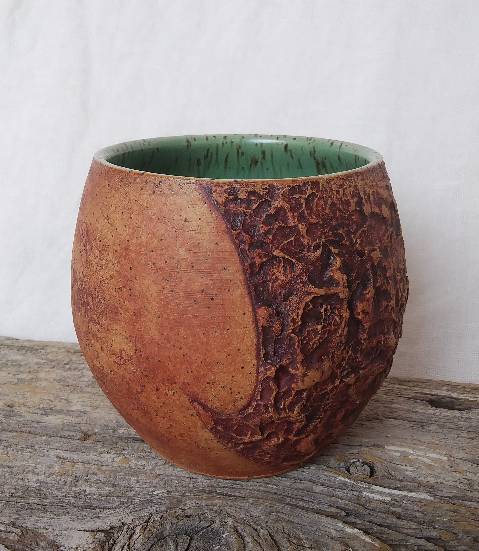 Texture Contrast Vase - Speckled Buff & Emeraude - 5.jpg