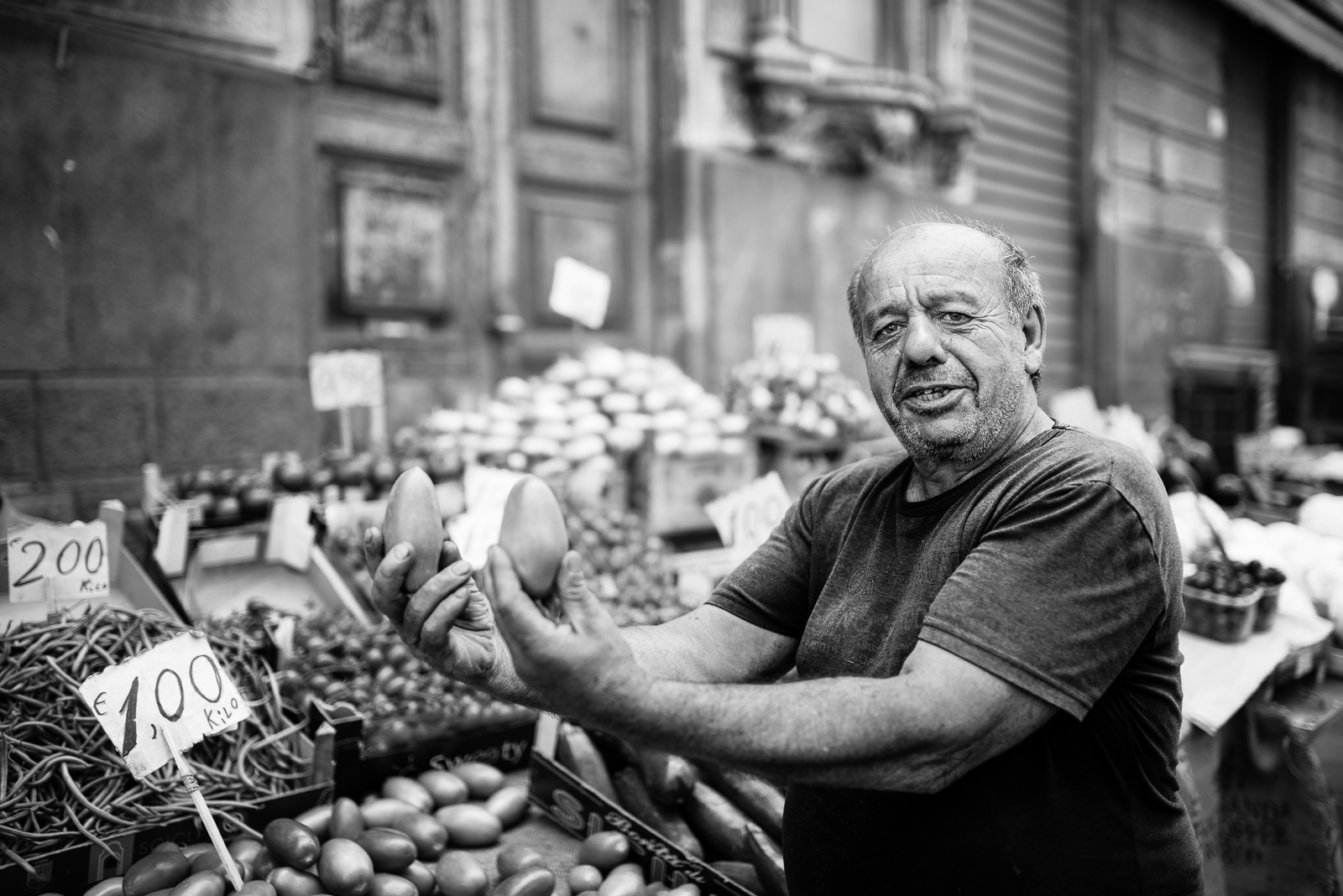 "Catania local market. He was saying to me: ""Photograph these beautiful pummodoro (tomatoes)!"""