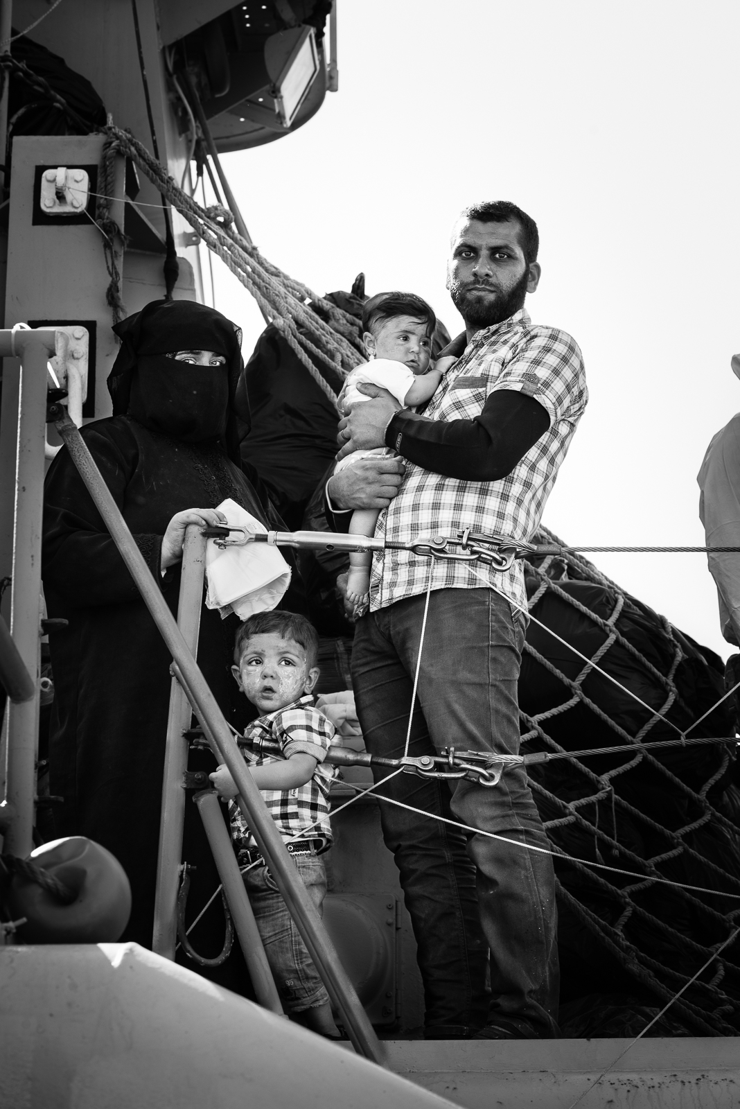 "A syrian family inside the ""nave sfinge"" in the Augusta's harbour.  VIDEO/1"