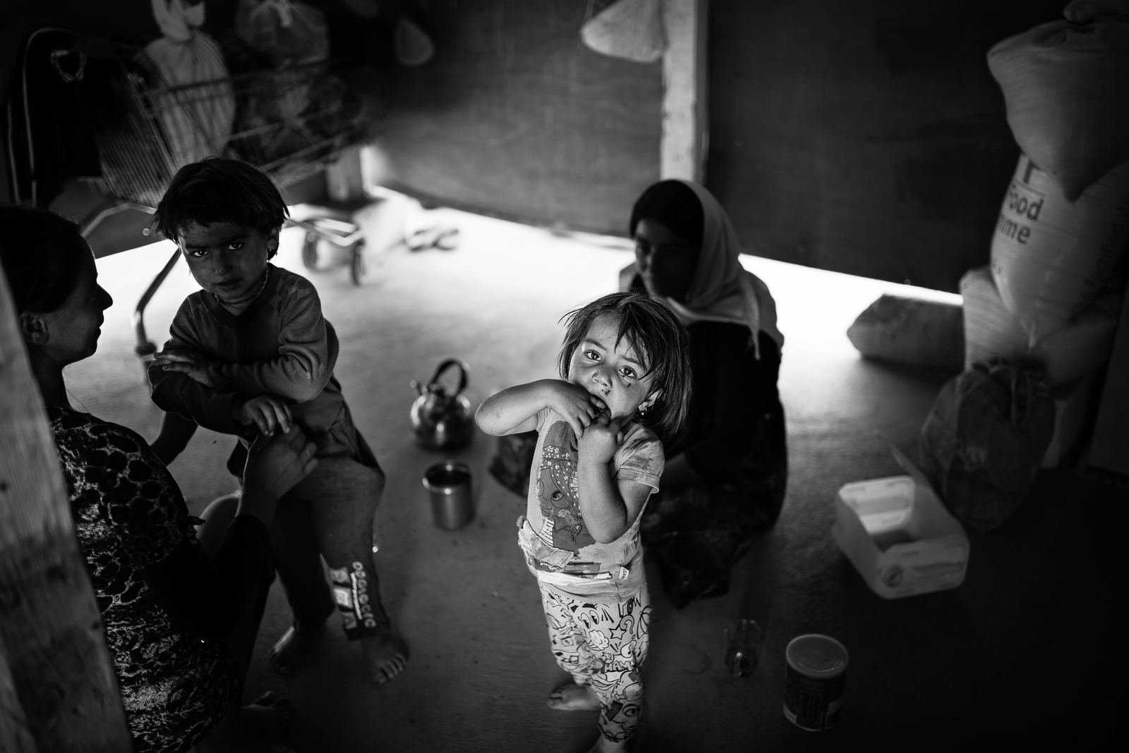 Inside a small house in a mini-camp (with only 2/3 families) in Erbil
