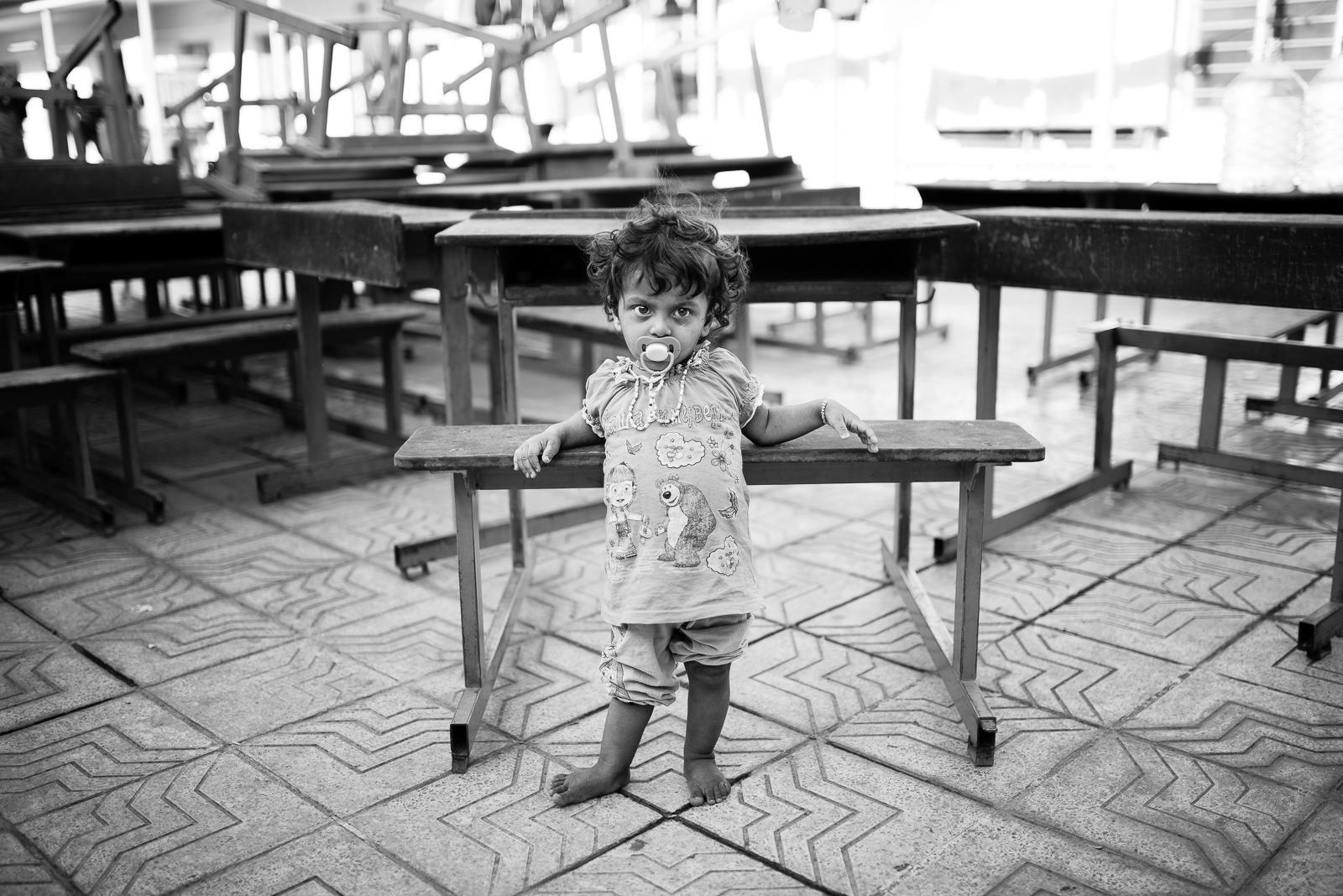 Little girl in an ex-school of Erbil