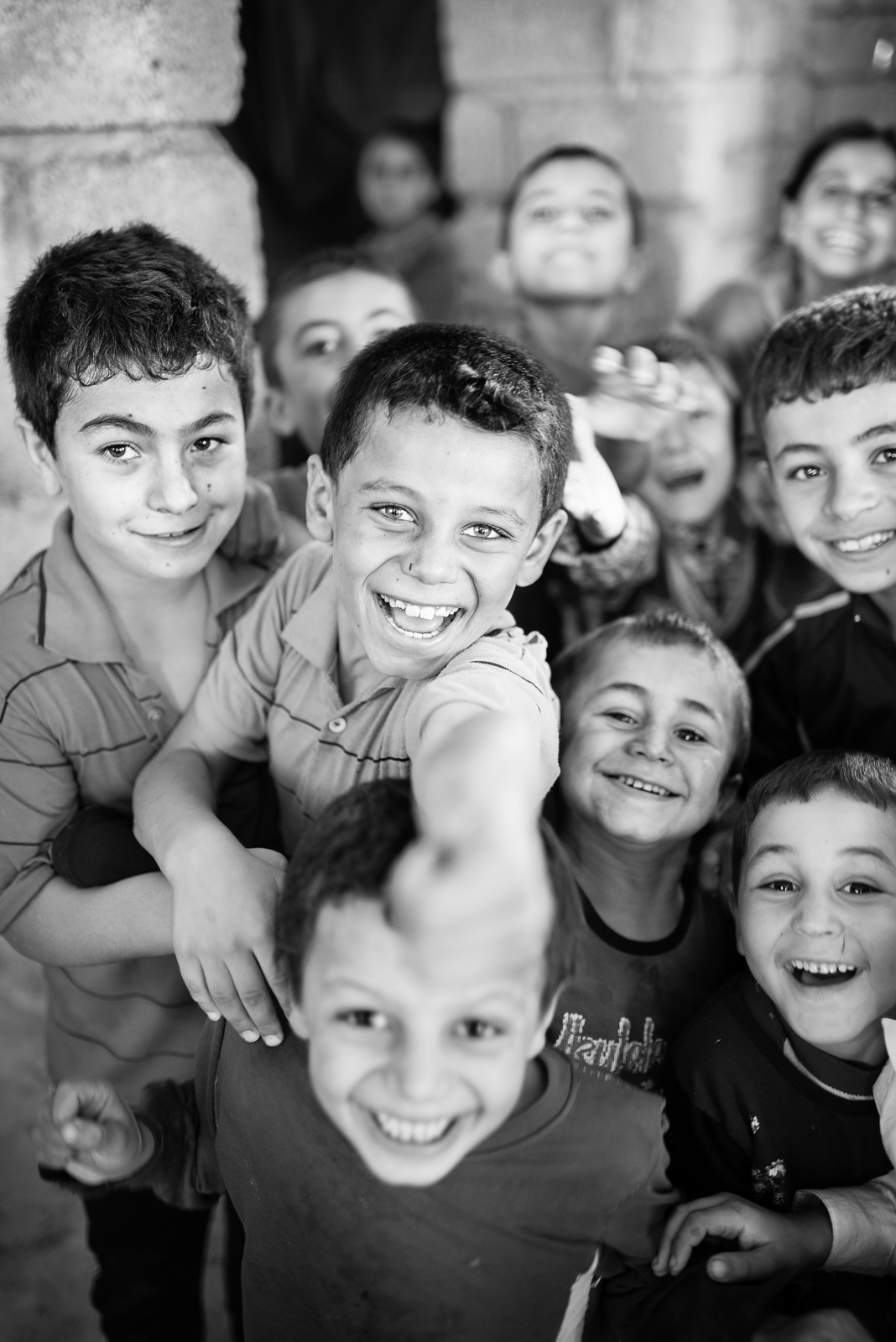 Happiness of children in Zakho under construction building