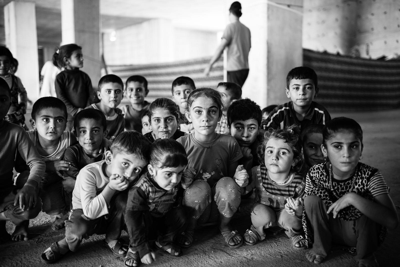 Children inside the Zakho under construction building