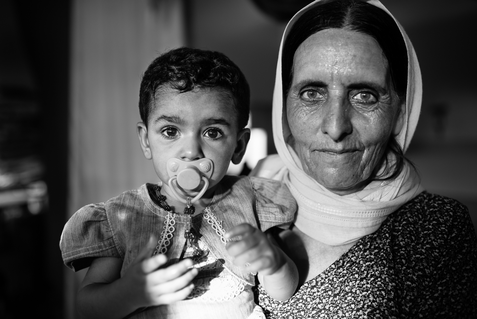 Mother and son in a school of Zakho
