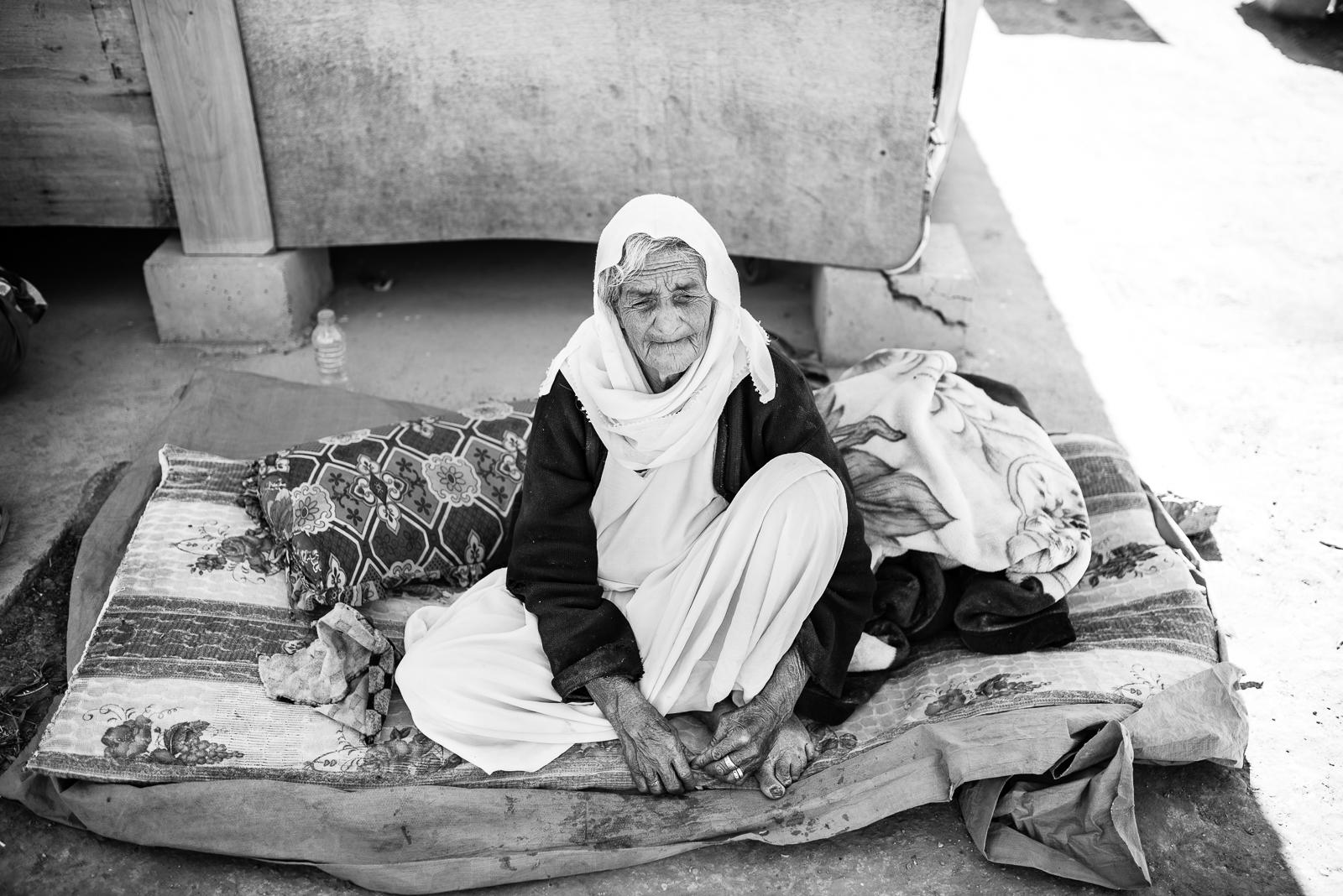 An elder refugees in an Erbil's small camp