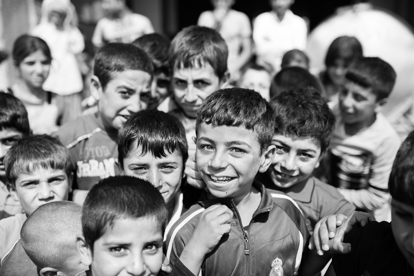 Children in a building under construction in Zakho