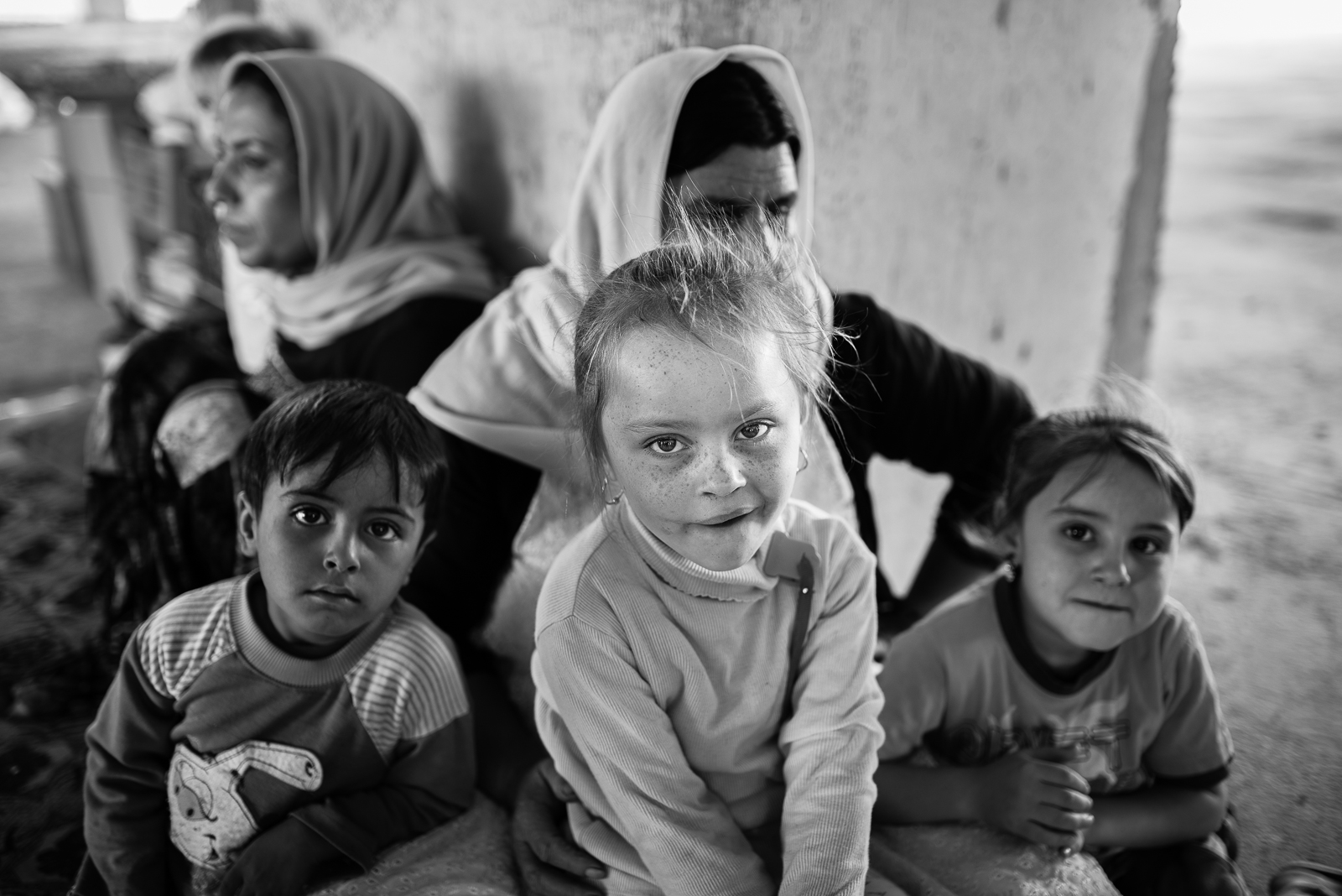 Children inside a building under construction in Zakho