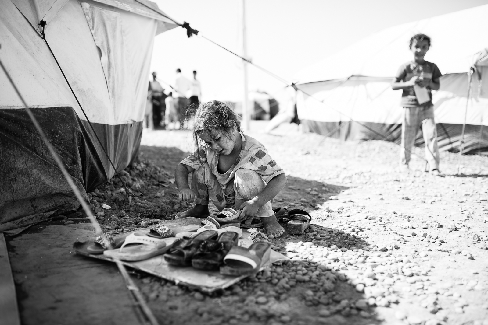 A little girl playing in the Erbil refugees camp