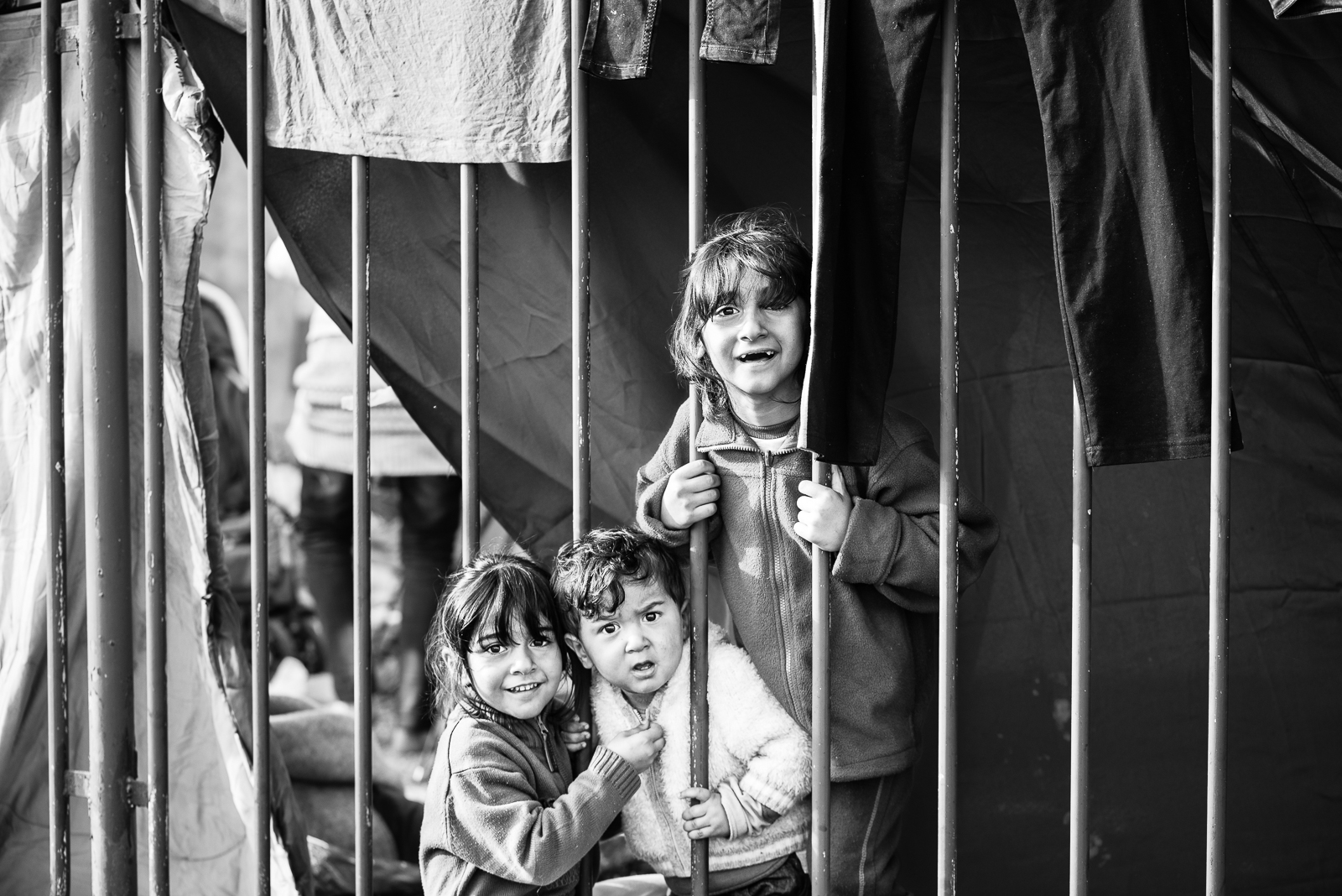 Children in their temporary home