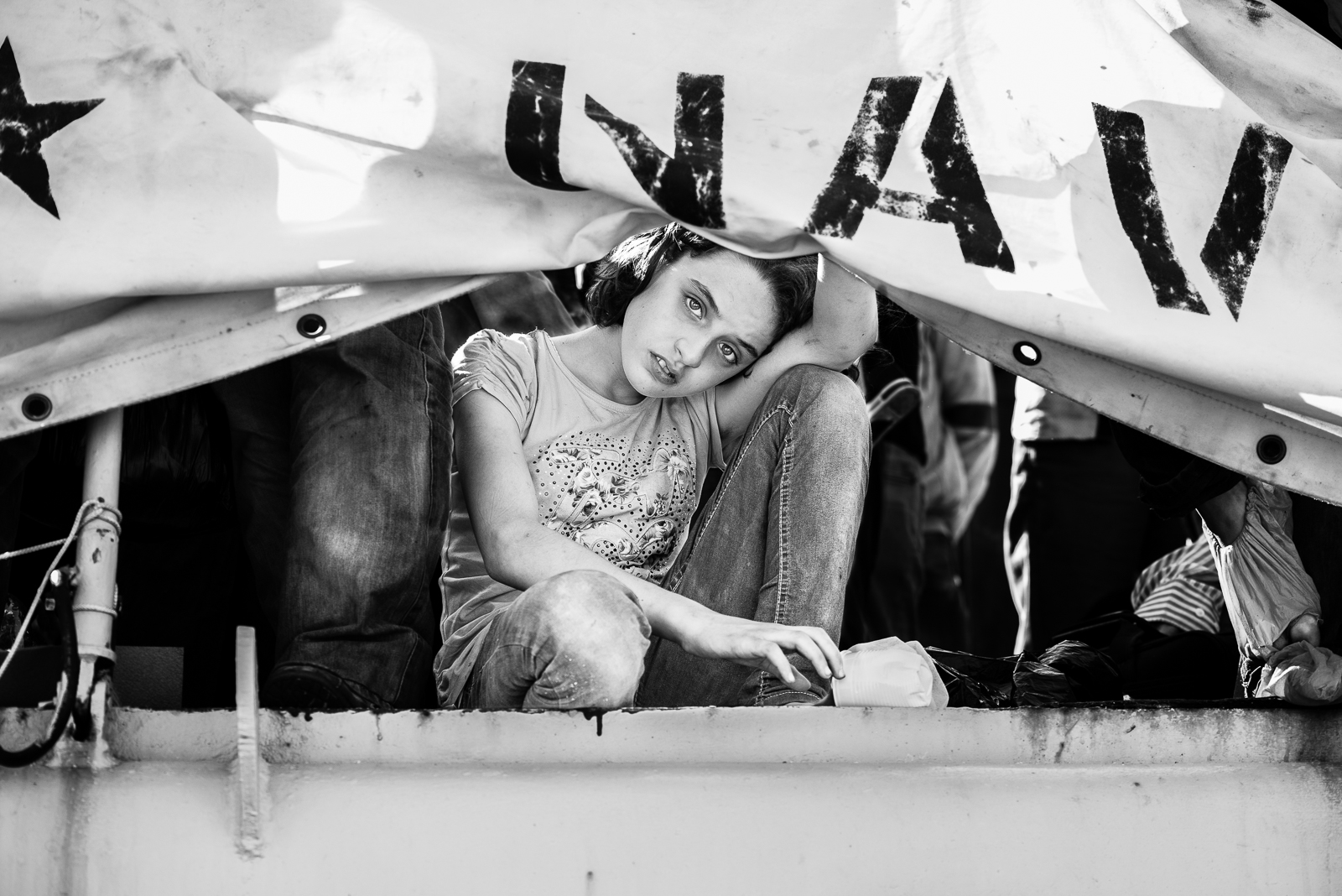 "A syrian girl inside the ""nave sfinge"" in the Augusta's harbour.  VIDEO/1"