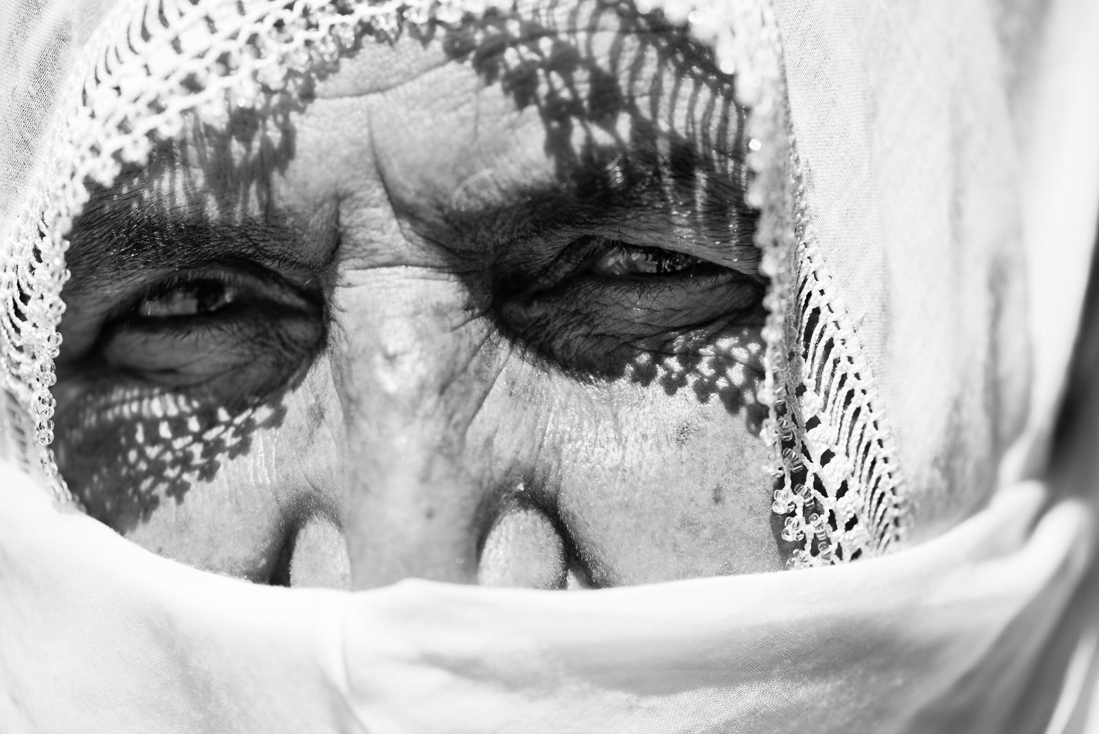 The face of an elder kurdish woman in Diyarbakir, Turkey.